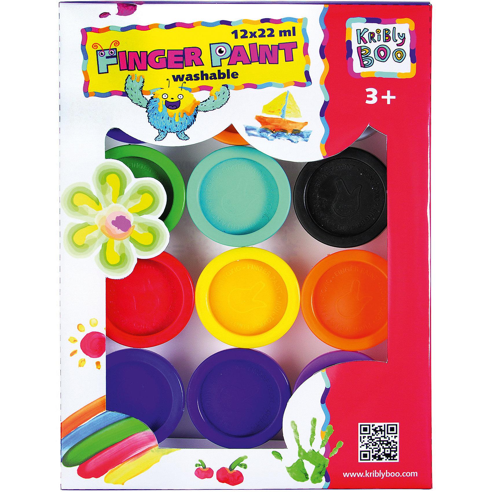 Пальчиковые краски, 12 цветовТворчество для малышей<br>Характеристики товара:<br><br>• цвет: разноцветный<br>• размер упаковки: 24х18х3 см<br>• вес: 500 г<br>• комплектация: 12 баночек<br>• объем 1 баночки: 22 мл<br>• возраст: от трех лет<br>• упаковка: блистер<br>• страна бренда: Финляндия<br>• страна изготовитель: Китай<br><br>Творчество - это увлекательно и полезно! Такой набор станет отличным подарком ребенку - ведь с помощью пальчиковых красок рисовать удобно и весело! В набор входят три баночки с красками разных цветов. Рисовать ими очень легко и получается даже у самых маленьких.<br>Детям очень нравится что-то делать своими руками! Кроме того, творчество помогает детям развивать важные навыки и способности, оно активизирует мышление, формирует усидчивость, творческие способности, мелкую моторику и воображение. Изделие производится из качественных и проверенных материалов, которые безопасны для детей.<br><br>Пальчиковые краски 12х22 мл от бренда KriBly Boo можно купить в нашем интернет-магазине.<br><br>Ширина мм: 220<br>Глубина мм: 170<br>Высота мм: 40<br>Вес г: 526<br>Возраст от месяцев: 36<br>Возраст до месяцев: 2147483647<br>Пол: Унисекс<br>Возраст: Детский<br>SKU: 4563992