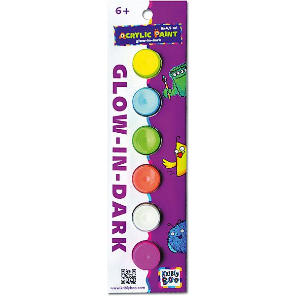 Набор акриловых красок Свечение в темноте с кисточкой, 6 цветовКраски и кисточки<br>Характеристики товара:<br><br>• цвет: разноцветный<br>• размер упаковки: 23x7x2 см<br>• вес: 70 г<br>• комплектация: 6 цветов, кисть<br>• объем 1 цвета: 4,5 мл<br>• светятся в темноте<br>• возраст: от трех лет<br>• упаковка: картонная коробка<br>• страна бренда: Финляндия<br>• страна изготовитель: Китай<br><br>Творчество - это увлекательно и полезно! Такой набор станет отличным подарком ребенку - ведь с помощью акриловых красок рисовать удобно и весело! В набор входят шесть базовых цветов и кисть. Рисовать ими можно как на бумаге, так и на других поверхностях. Акриловые краски подходят для раскрашивания скульптур. Эти краски еще и светятся в темноте!<br>Детям очень нравится что-то делать своими руками! Кроме того, творчество помогает детям развивать важные навыки и способности, оно активизирует мышление, формирует усидчивость, творческие способности, мелкую моторику и воображение. Изделие производится из качественных и проверенных материалов, которые безопасны для детей.<br><br>Набор акриловых красок Свечение в темноте с кисточкой 6х 4,5 мл от бренда KriBly Boo можно купить в нашем интернет-магазине.<br><br>Ширина мм: 240<br>Глубина мм: 70<br>Высота мм: 30<br>Вес г: 66<br>Возраст от месяцев: 36<br>Возраст до месяцев: 2147483647<br>Пол: Унисекс<br>Возраст: Детский<br>SKU: 4563995