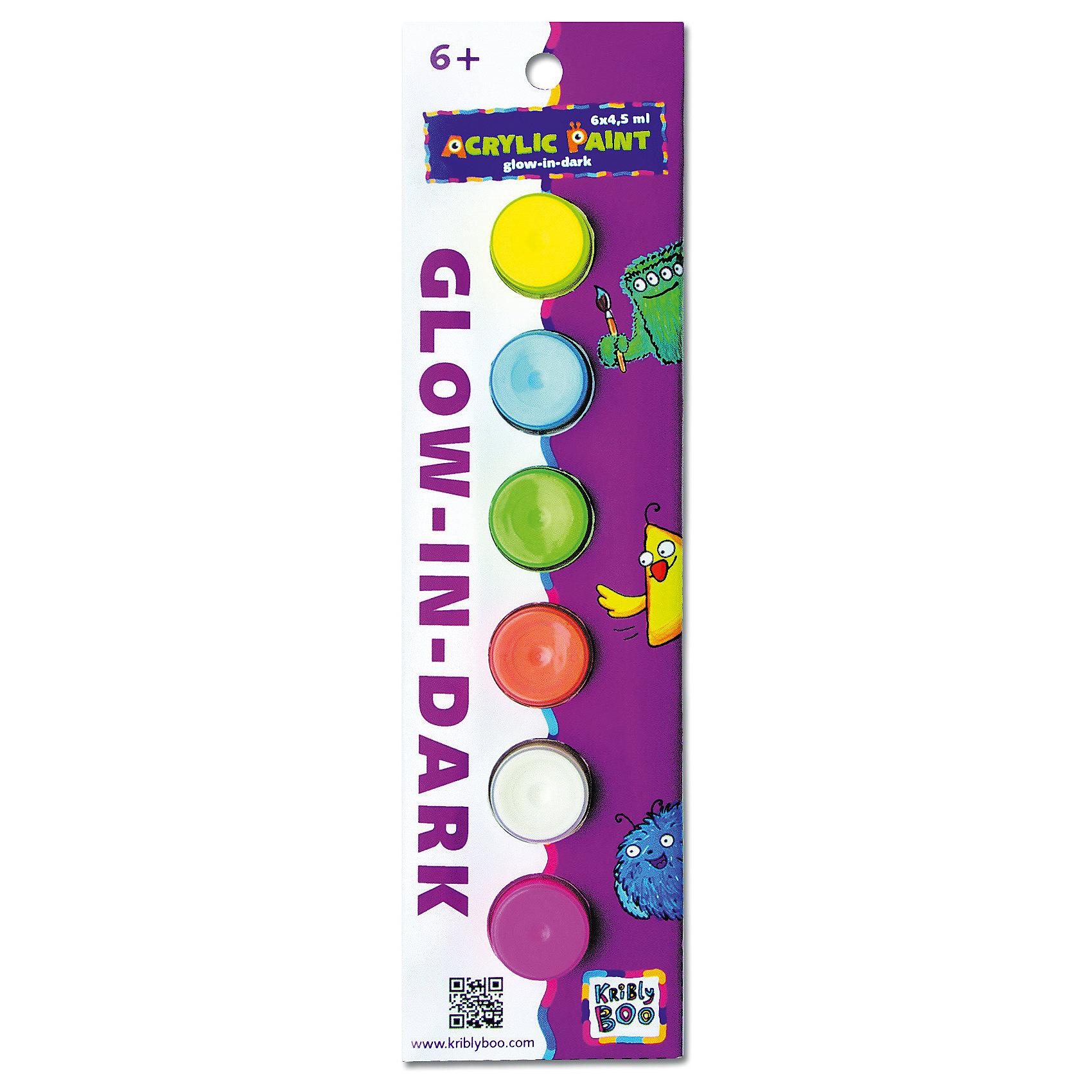 Набор акриловых красок Свечение в темноте с кисточкой, 6 цветовХарактеристики товара:<br><br>• цвет: разноцветный<br>• размер упаковки: 23x7x2 см<br>• вес: 70 г<br>• комплектация: 6 цветов, кисть<br>• объем 1 цвета: 4,5 мл<br>• светятся в темноте<br>• возраст: от трех лет<br>• упаковка: картонная коробка<br>• страна бренда: Финляндия<br>• страна изготовитель: Китай<br><br>Творчество - это увлекательно и полезно! Такой набор станет отличным подарком ребенку - ведь с помощью акриловых красок рисовать удобно и весело! В набор входят шесть базовых цветов и кисть. Рисовать ими можно как на бумаге, так и на других поверхностях. Акриловые краски подходят для раскрашивания скульптур. Эти краски еще и светятся в темноте!<br>Детям очень нравится что-то делать своими руками! Кроме того, творчество помогает детям развивать важные навыки и способности, оно активизирует мышление, формирует усидчивость, творческие способности, мелкую моторику и воображение. Изделие производится из качественных и проверенных материалов, которые безопасны для детей.<br><br>Набор акриловых красок Свечение в темноте с кисточкой 6х 4,5 мл от бренда KriBly Boo можно купить в нашем интернет-магазине.<br><br>Ширина мм: 240<br>Глубина мм: 70<br>Высота мм: 30<br>Вес г: 66<br>Возраст от месяцев: 36<br>Возраст до месяцев: 2147483647<br>Пол: Унисекс<br>Возраст: Детский<br>SKU: 4563995