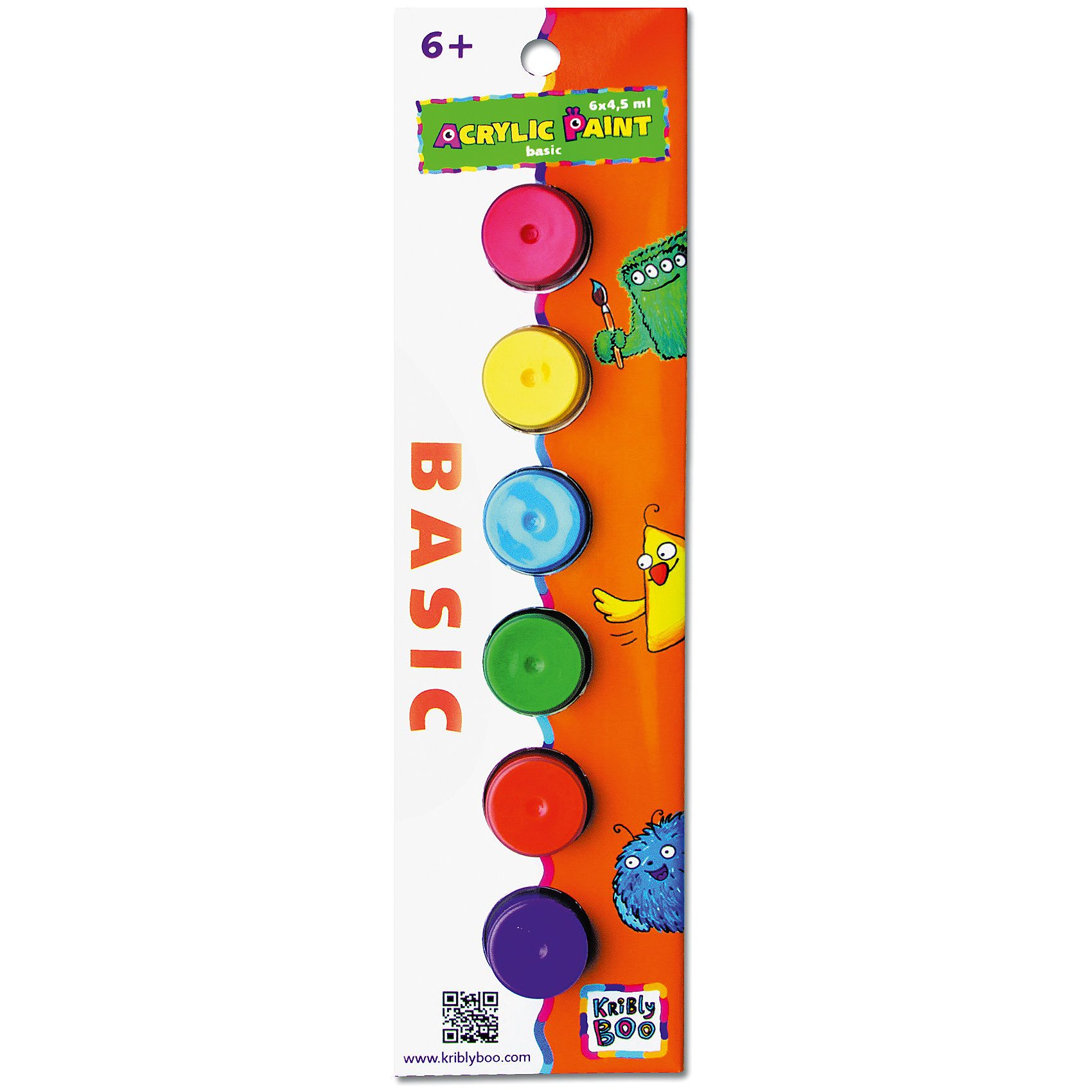 Набор акриловых красок с кисточкой, 6 цветовКраски и кисточки<br>Характеристики товара:<br><br>• цвет: разноцветный<br>• размер упаковки: 23x7x2 см<br>• вес: 70 г<br>• комплектация: 6 цветов, кисть<br>• объем 1 цвета: 4,5 мл<br>• возраст: от трех лет<br>• упаковка: картонная коробка<br>• страна бренда: Финляндия<br>• страна изготовитель: Китай<br><br>Творчество - это увлекательно и полезно! Такой набор станет отличным подарком ребенку - ведь с помощью акриловых красок рисовать удобно и весело! В набор входят шесть базовых цветов и кисть. Рисовать ими можно как на бумаге, так и на других поверхностях. Акриловые краски подходят для раскрашивания скульптур.<br>Детям очень нравится что-то делать своими руками! Кроме того, творчество помогает детям развивать важные навыки и способности, оно активизирует мышление, формирует усидчивость, творческие способности, мелкую моторику и воображение. Изделие производится из качественных и проверенных материалов, которые безопасны для детей.<br><br>Набор акриловых красок с кисточкой 6х 4,5 мл от бренда KriBly Boo можно купить в нашем интернет-магазине.<br><br>Ширина мм: 240<br>Глубина мм: 70<br>Высота мм: 30<br>Вес г: 67<br>Возраст от месяцев: 36<br>Возраст до месяцев: 2147483647<br>Пол: Унисекс<br>Возраст: Детский<br>SKU: 4563997