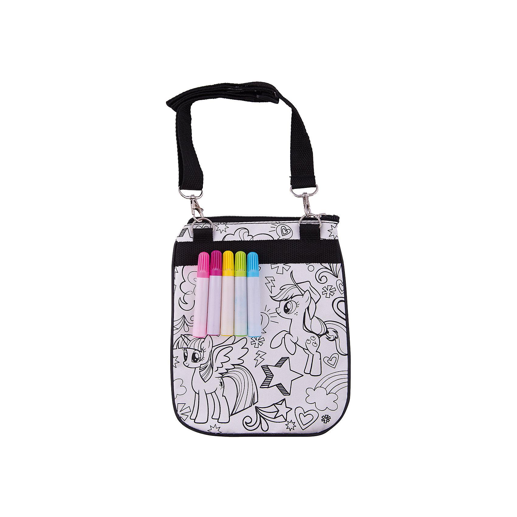 Набор для росписи сумочки Ponies Rock, My Little PonyНаборы для раскрашивания<br>Набор для росписи сумочки Ponies Rock, My Little Pony - это набор для создания эксклюзивной сумки своими руками.<br>Набор для росписи сумочки Ponies Rock - увлекательный набор для творчества, который станет отличным подарком для Вашей девочки. Она сможет своими руками расписать удобный практичный аксессуар, который будет с удовольствием носить с собой в школу или на прогулку. На сумку уже нанесен контур рисунка с изображением двух симпатичных пони, героинь любимого многими девочками мультсериала My Little Pony., нужно лишь раскрасить его детали согласно своей фантазии. Чтобы рисунок получился интереснее, можно создать новые оттенки, смешав цвета фломастеров. Сумочка оснащена длинной регулируемой лямкой для ношения через плечо. Набор развивает мелкую моторику, глазомер, цветовосприятие и художественный вкус.<br><br>Дополнительная информация:<br><br>- В наборе: сумочка из хлопка с нанесенным контуром, 5 ярких водостойких фломастеров<br>- Размер упаковки: 180 х 10 х 330 мм.<br>- Вес: 137 гр.<br><br>Набор для росписи сумочки Ponies Rock, My Little Pony можно купить в нашем интернет-магазине.<br><br>Ширина мм: 180<br>Глубина мм: 10<br>Высота мм: 330<br>Вес г: 137<br>Возраст от месяцев: 84<br>Возраст до месяцев: 2147483647<br>Пол: Женский<br>Возраст: Детский<br>SKU: 4563999
