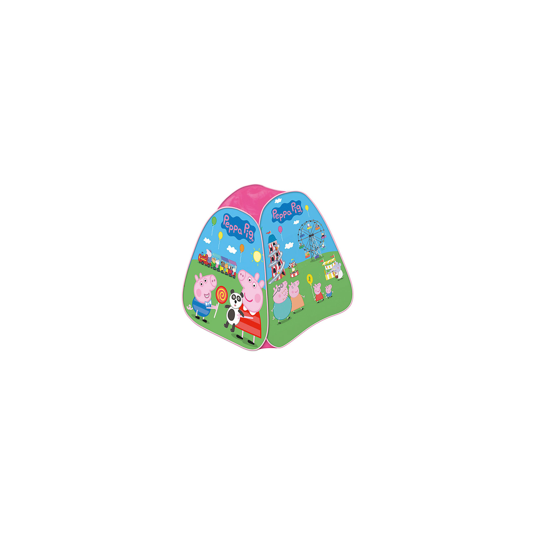 Игровая палатка  82*90*82 см, Свинка ПеппаСвинка Пеппа<br>Игровая палатка  82*90*82 см, Свинка Пеппа – этот замечательный домик поможет Вашему ребенку создать свой уютный уголок для игр.<br>Яркая игровая палатка с изображением Свинки Пеппы и ее семьи, которые веселятся в луна-парке, приведет в восторг любого малыша. Она подходит для игры в помещении или на улице в летнее время года. Входной полог палатки закрывается на липучки. Игровая палатка имеет прочный самораскладывающийся пластиковый каркас, который легко складывается и раскладывается. В сложенном виде она очень компактна. Для удобной транспортировки палатка упаковывается в чехол.<br><br>Дополнительная информация:<br><br>- Размер: 82х90х82 см.<br>- Материал: полиэстер, пластик<br>- Товар сертифицирован<br>- Упаковка: чехол с цветным вкладышем<br>- Размер упаковки: 39х39х4 см.<br>- Вес: 571 гр.<br><br>Игровую палатку 82*90*82 см, Свинка Пеппа можно купить в нашем интернет-магазине.<br><br>Ширина мм: 390<br>Глубина мм: 390<br>Высота мм: 40<br>Вес г: 571<br>Возраст от месяцев: 36<br>Возраст до месяцев: 72<br>Пол: Унисекс<br>Возраст: Детский<br>SKU: 4564015