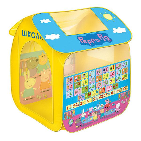 Игровая палатка Свинка Пеппа, 83*105*80 см, РосмэнИгровые центры<br>Характеристики:<br><br>• для детей в возрасте: от 3 лет<br>• размер: 83х100х80 см.<br>• материал: полиэстер, пластик<br>• упаковка: чехол<br>• размер упаковки: 39х39х4 см.<br>• вес: 748 гр.<br><br>Красочная игровая палатка «Свинка Пеппа» предназначена для игр дома и на улице. Она состоит из 2 частей (основного корпуса и крыши), каждая из которых оснащена сетчатыми окошками для вентиляции. Входной полог закрывается на липучки. На две стороны и крышу нанесены изображения любимых персонажей.<br><br>Благодаря удобному самораскладывающемуся каркасу, палатку можно легко и быстро складывать и раскладывать. В сложенном виде палатка компактна и не занимает много места. Палатка изготовлена из полиэстера, каркас пластиковый.<br><br>Игровую палатку Свинка Пеппа, 83*100*80 см, Росмэн можно купить в нашем интернет-магазине.<br><br>Ширина мм: 390<br>Глубина мм: 390<br>Высота мм: 40<br>Вес г: 748<br>Возраст от месяцев: 36<br>Возраст до месяцев: 2147483647<br>Пол: Унисекс<br>Возраст: Детский<br>SKU: 4564016