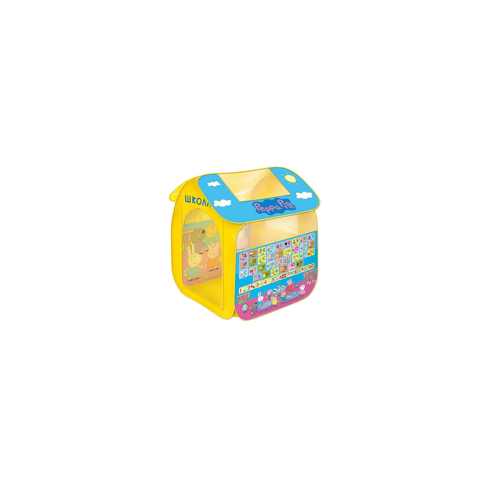Игровая палатка Свинка Пеппа, 83*105*80 см, РосмэнИгровые центры<br>Игровая палатка  83*105*80 см, Свинка Пеппа – домик, который поможет малышу не только создать уголок для игр, но и выучить буквы и цифры.<br>Яркая игровая палатка с любимыми персонажами из мультсериала «Свинка Пеппа» приведет в восторг любого малыша. Она подходит для игры в помещении или на улице в летнее время года. Палатка состоит из 2 частей (основного корпуса и крыши), каждая из которых оснащена сетчатыми окошками. Входной полог закрывается на липучки. На одну сторону палатки нанесены все буквы алфавита, картинки с предметами, которые начинаются именно на эти буквы и цифры от 1 до 10 с соответствующим количеством предметов для каждой цифры. На другую сторону - эпизод про школу из мультфильма «Свинка Пеппа». Игровая палатка имеет прочный самораскладывающийся пластиковый каркас, который легко складывается и раскладывается. В сложенном виде она очень компактна. Для удобной транспортировки палатка упаковывается в чехол.<br><br>Дополнительная информация:<br><br>- Размер: 83х105х80 см.<br>- Материал: полиэстер, пластик<br>- Товар сертифицирован<br>- Упаковка: чехол с цветным вкладышем<br>- Размер упаковки: 39х39х4 см.<br>- Вес: 748 гр.<br><br>Игровую палатку 83*105*80 см, Свинка Пеппа можно купить в нашем интернет-магазине.<br><br>Ширина мм: 390<br>Глубина мм: 390<br>Высота мм: 40<br>Вес г: 748<br>Возраст от месяцев: 36<br>Возраст до месяцев: 72<br>Пол: Унисекс<br>Возраст: Детский<br>SKU: 4564016