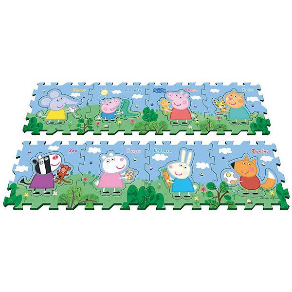 Коврик-пазл Пеппа и друзья, 8 деталейДетские ковры<br>Предложите малышу поиграть с ковриком-пазлом «Пеппа и друзья», созданным по мотивам мультфильма «Свинка Пеппа»! Соберите 8 сегментов в единую картинку по образцу на вкладыше, проговаривая, куда вы кладете каждый из них: правый нижний угол, левый верхний. Детали можно складывать в 1 или 2 ряда. В каждом сегменте есть пустое место, в которое нужно вставить вырезанного персонажа (имена героев подписаны). У вас получится мягкий и красивый коврик, на котором можно играть. Работа с ним развивает у детей образно-пространственное мышление, логику, моторику и тактильное восприятие. А для более интересной игры можно приобрести другие игрушки из серии «Peppa Pig».<br><br>Дополнительная информация:<br><br>Коврик-пазл с вырезанными персонажами «Пеппа и друзья» «Peppa Pig» включает 8 сегментов размером 31,5х31,5х1 см, выполненных из мягкого, приятного на ощупь материала EVA.<br>Размер коврика в собранном виде: 252х31,5х1 см или 126х62х1 см в зависимости от способа сборки.<br>Размер упаковки: 31,5х31,5х8 см.<br><br>Коврик-пазл Пеппа и друзья, 8 деталей можно купить в нашем магазине.<br><br>Ширина мм: 315<br>Глубина мм: 315<br>Высота мм: 80<br>Вес г: 615<br>Возраст от месяцев: 36<br>Возраст до месяцев: 84<br>Пол: Унисекс<br>Возраст: Детский<br>SKU: 4565558