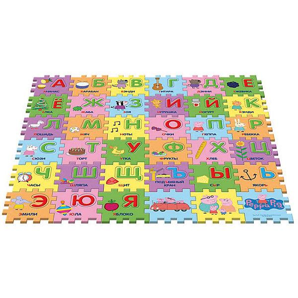 Коврик-пазл Учим азбуку с Пеппой, 36 деталейДетские ковры<br>Предложите малышу поиграть с ковриком-пазлом «Учим азбуку с Пеппой», созданным по мотивам мультфильма «Свинка Пеппа»! Соберите 36 сегментов в единую картинку по образцу на вкладыше, проговаривая, куда вы кладете каждый из них: первый справа в нижнем ряду и т. д. В каждом сегменте есть пустое место, в которое нужно вставить вырезанную букву (на каждом есть изображение предмета или героя мультфильма, подписанное словом, начинающимся на нужную букву). У вас получится мягкий и красивый коврик, на котором можно играть. Вы также можете составлять простые слова из вырезанных букв или целых сегментов. Работа с ковриком-пазлом помогает детям в игровой форме быстро выучить алфавит, развивает образно-пространственное мышление, логику, моторику и тактильное восприятие.<br><br>Дополнительная информация:<br><br>Коврик-пазл с вырезанными буквами включает 36 сегментов (15х15х1 см), выполненных из мягкого, приятного на ощупь материала EVA. <br>Размер коврика в собранном виде: 90х90х1 см. <br>Размер упаковки: 45х5,5х30 см.<br><br>Коврик-пазл Учим азбуку с Пеппой, 36 деталей можно купить в нашем магазине.<br>Ширина мм: 460; Глубина мм: 310; Высота мм: 60; Вес г: 687; Возраст от месяцев: 36; Возраст до месяцев: 84; Пол: Унисекс; Возраст: Детский; SKU: 4565559;