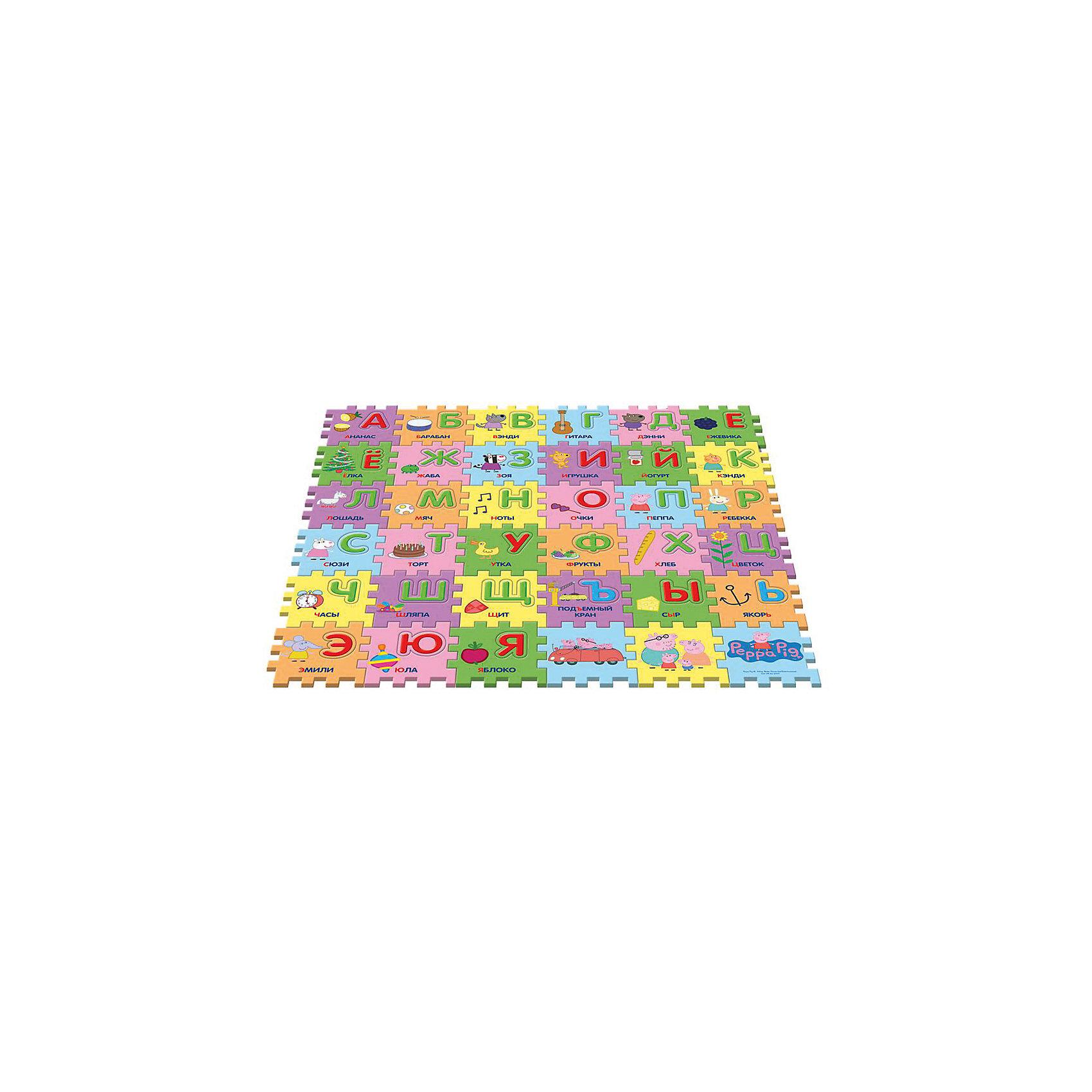 Коврик-пазл Учим азбуку с Пеппой, 36 деталейКовры<br>Предложите малышу поиграть с ковриком-пазлом «Учим азбуку с Пеппой», созданным по мотивам мультфильма «Свинка Пеппа»! Соберите 36 сегментов в единую картинку по образцу на вкладыше, проговаривая, куда вы кладете каждый из них: первый справа в нижнем ряду и т. д. В каждом сегменте есть пустое место, в которое нужно вставить вырезанную букву (на каждом есть изображение предмета или героя мультфильма, подписанное словом, начинающимся на нужную букву). У вас получится мягкий и красивый коврик, на котором можно играть. Вы также можете составлять простые слова из вырезанных букв или целых сегментов. Работа с ковриком-пазлом помогает детям в игровой форме быстро выучить алфавит, развивает образно-пространственное мышление, логику, моторику и тактильное восприятие.&#13;<br><br>Дополнительная информация:<br><br>Коврик-пазл с вырезанными буквами включает 36 сегментов (15х15х1 см), выполненных из мягкого, приятного на ощупь материала EVA. <br>Размер коврика в собранном виде: 90х90х1 см. <br>Размер упаковки: 45х5,5х30 см.<br><br>Коврик-пазл Учим азбуку с Пеппой, 36 деталей можно купить в нашем магазине.<br><br>Ширина мм: 460<br>Глубина мм: 310<br>Высота мм: 60<br>Вес г: 687<br>Возраст от месяцев: 36<br>Возраст до месяцев: 84<br>Пол: Унисекс<br>Возраст: Детский<br>SKU: 4565559