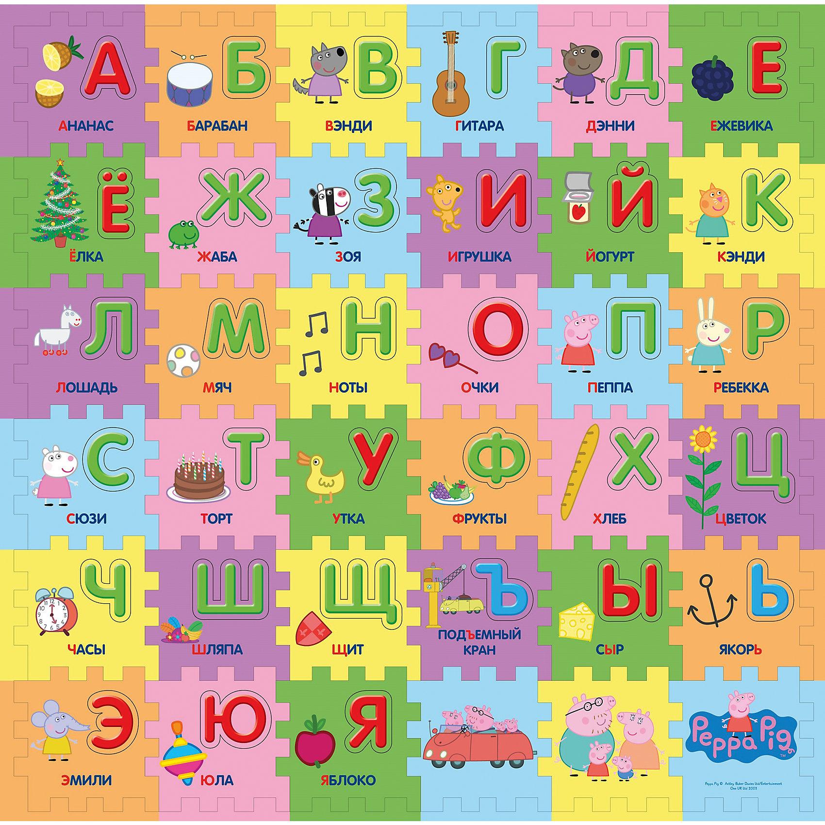 """Коврик-пазл """"Учим азбуку с Пеппой"""", 36 деталей от myToys"""