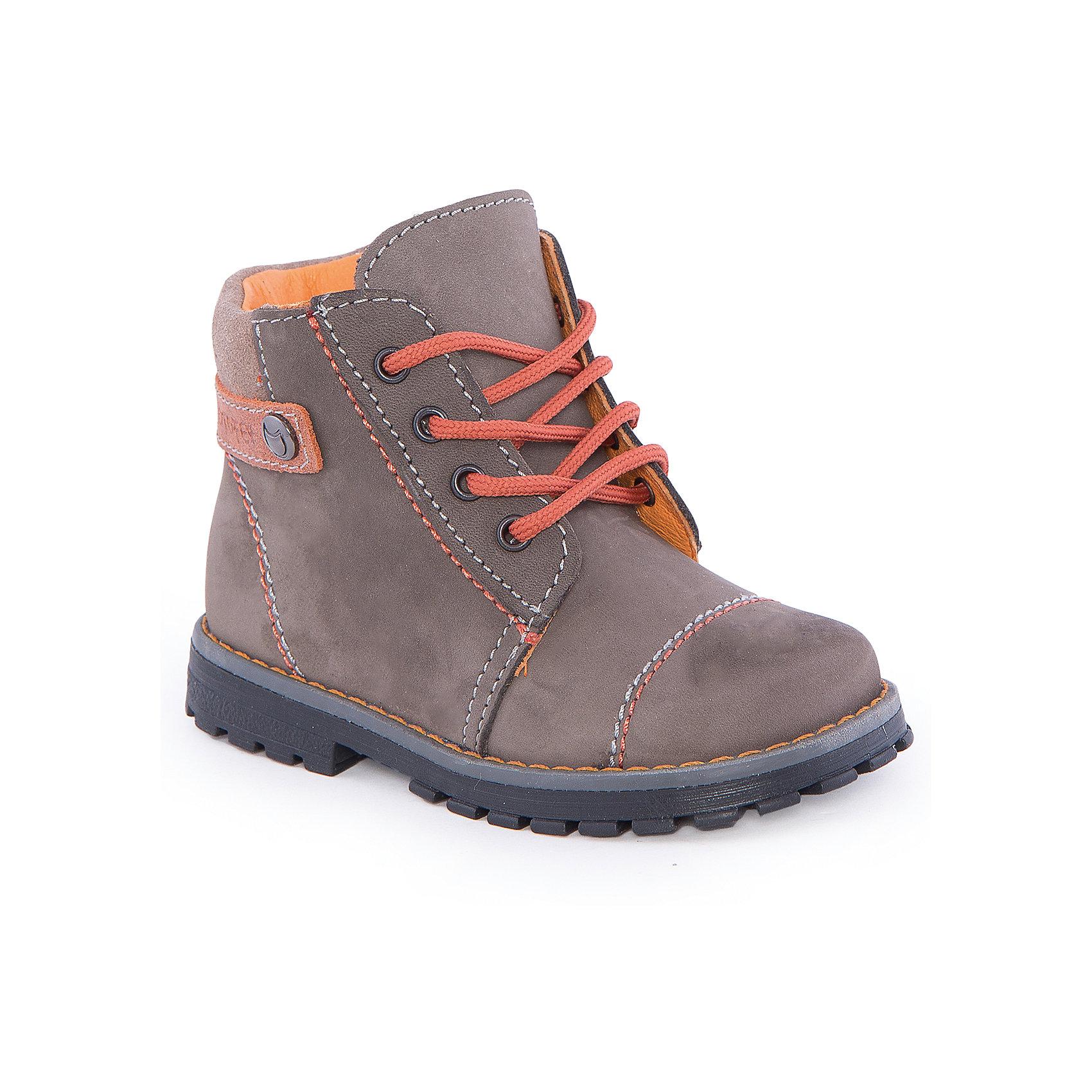 Ботинки для мальчика КотофейБотинки для мальчика от известного российского бренда Котофей <br><br>Удобные ботинки изготовлены из натуральной кожи, выполнены в универсальном сером цвете. <br>Верх сделан из материала, обеспечивающего ногам комфорт. Толстая рифленая подошва позволяет избегать скольжения практически на любой поверхности.<br><br>Особенности модели:<br><br>- цвет: серый;<br>- устойчивая подошва;<br>- декорированы оранжевыми элементами;<br>- застежка: молния, шнуровка;<br>- вид крепления обуви: клеевой;<br>- анатомическая стелька;<br>- качественные материалы;<br>- защита пальцев и пятки;<br>- модный дизайн.<br><br>Дополнительная информация:<br><br>Температурный режим: от +5° до +15°С.<br><br>Состав: <br><br>верх - натуральная кожа;<br>подкладка - натуральная кожа;<br>подошва - ТЭП.<br><br>Ботинки для мальчика Котофей можно купить в нашем магазине.<br><br>Ширина мм: 262<br>Глубина мм: 176<br>Высота мм: 97<br>Вес г: 427<br>Цвет: серый<br>Возраст от месяцев: 18<br>Возраст до месяцев: 21<br>Пол: Мужской<br>Возраст: Детский<br>Размер: 25,26,24,23<br>SKU: 4565626