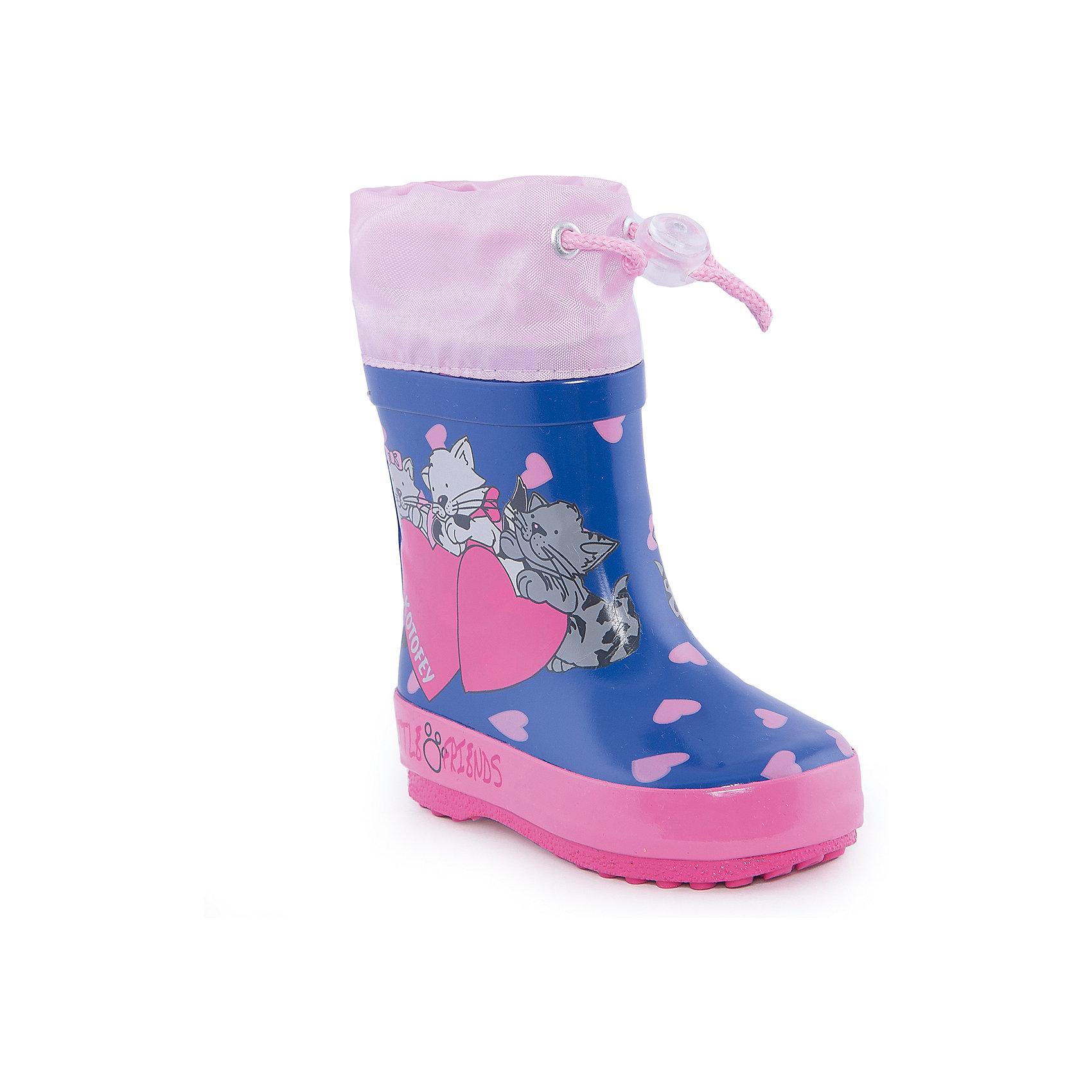 Резиновые сапожки для девочки КотофейСапожки для девочки от известного российского бренда Котофей <br><br>Яркие модные сапоги сделаны из качественной резины. Они позволят защитить ноги ребенка от сырости.<br>Высокое голенище с утяжкой защитит одежду от грязи и влаги.<br><br>Отличительные особенности модели:<br><br>- цвет: синий;<br>- удобная колодка;<br>- утяжка со стоппером на голенище;<br>- качественные материалы;<br>- толстая устойчивая подошва;<br>- текстильная подкладка;<br>- декорированы принтом и розовыми деталями.<br><br>Дополнительная информация:<br><br>Температурный режим: от +5° С до +25° С.<br><br>Состав:<br>верх - резина;<br>подкладка - текстиль;<br>подошва - резина.<br><br>Сапожки для девочки Котофей можно купить в нашем магазине.<br><br>Ширина мм: 257<br>Глубина мм: 180<br>Высота мм: 130<br>Вес г: 420<br>Цвет: синий<br>Возраст от месяцев: 15<br>Возраст до месяцев: 18<br>Пол: Женский<br>Возраст: Детский<br>Размер: 22,20,23,21<br>SKU: 4565808
