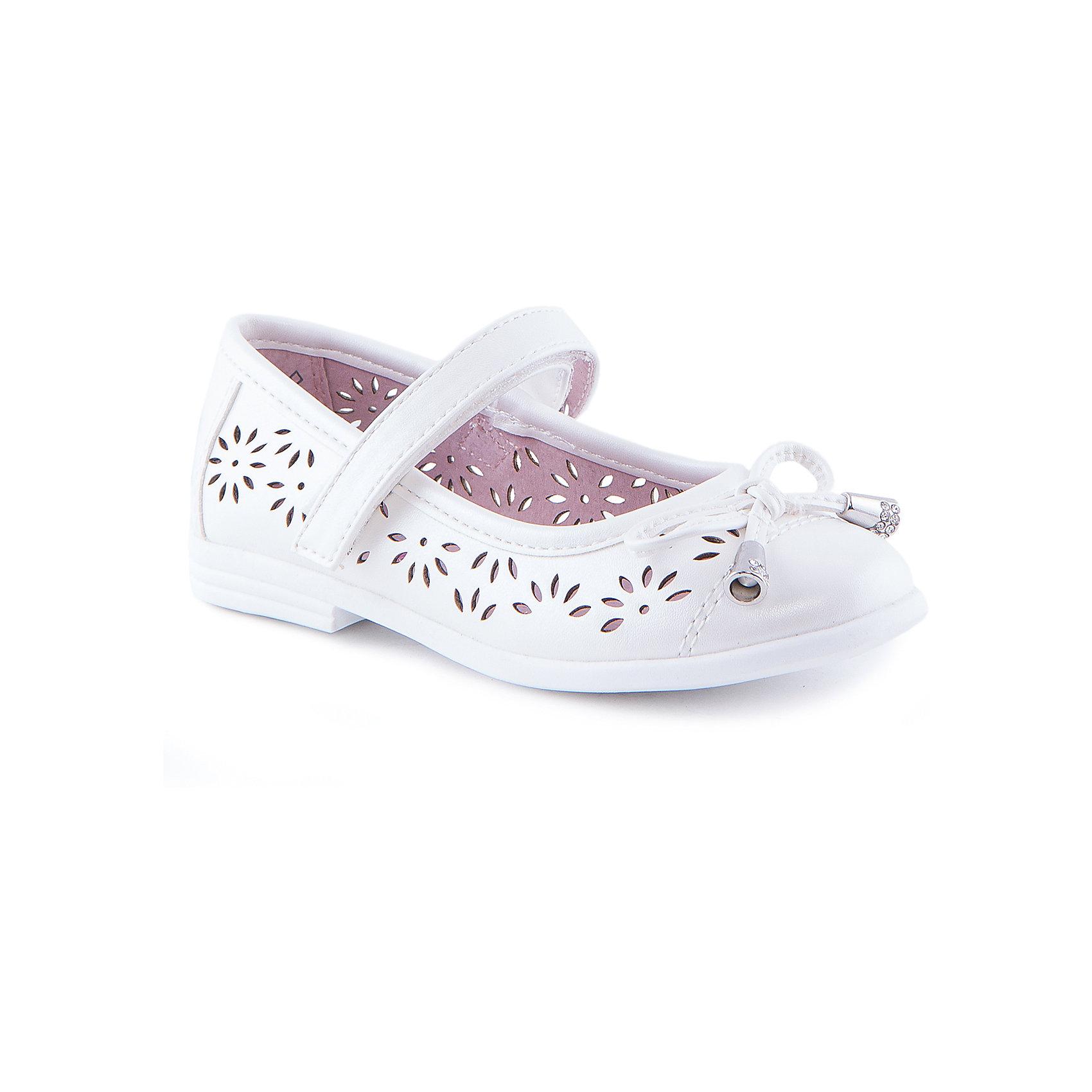 Туфли для девочки КотофейТуфли для девочки от известного российского бренда Котофей <br><br>Удобные туфли выполнены в универсальном белом цвете, украшены перфорацией. <br>Модель легко надевается. Удобная подошва позволяет избегать скольжения практически на любой поверхности.<br><br>Особенности модели:<br><br>- цвет: белый;<br>- тонкая гибкая подошва;<br>- застежка: липучка;<br>- вид крепления обуви: клеевой;<br>- качественные материалы;<br>- декорированы вырубленным узором и бантом;<br>- хорошее облегание.<br><br>Дополнительная информация:<br><br>Состав: <br><br>верх - искусственная кожа;<br>подошва - ТЭП.<br><br>Туфли для девочки Котофей можно купить в нашем магазине.<br><br>Ширина мм: 227<br>Глубина мм: 145<br>Высота мм: 124<br>Вес г: 325<br>Цвет: белый<br>Возраст от месяцев: 24<br>Возраст до месяцев: 24<br>Пол: Женский<br>Возраст: Детский<br>Размер: 25,26,27,29,28<br>SKU: 4565833