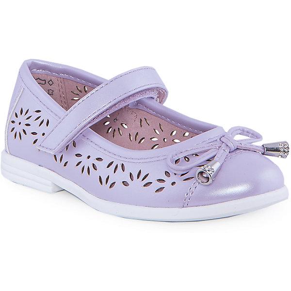 Туфли для девочки КотофейОбувь<br>Туфли для девочки от известного российского бренда Котофей <br><br>Удобные туфли выполнены в красивом сиреневом цвете, украшены перфорацией. <br>Модель легко надевается. Удобная подошва позволяет избегать скольжения практически на любой поверхности.<br><br>Особенности модели:<br><br>- цвет: сиреневый;<br>- тонкая гибкая подошва;<br>- застежка: липучка;<br>- вид крепления обуви: клеевой;<br>- качественные материалы;<br>- декорированы вырубленным узором и бантом;<br>- хорошее облегание.<br><br>Дополнительная информация:<br><br>Состав: <br><br>верх - искусственная кожа;<br>подошва - ТЭП.<br><br>Туфли для девочки Котофей можно купить в нашем магазине.<br><br>Ширина мм: 227<br>Глубина мм: 145<br>Высота мм: 124<br>Вес г: 325<br>Цвет: лиловый<br>Возраст от месяцев: 24<br>Возраст до месяцев: 36<br>Пол: Женский<br>Возраст: Детский<br>Размер: 26,25,27,29,28<br>SKU: 4565845