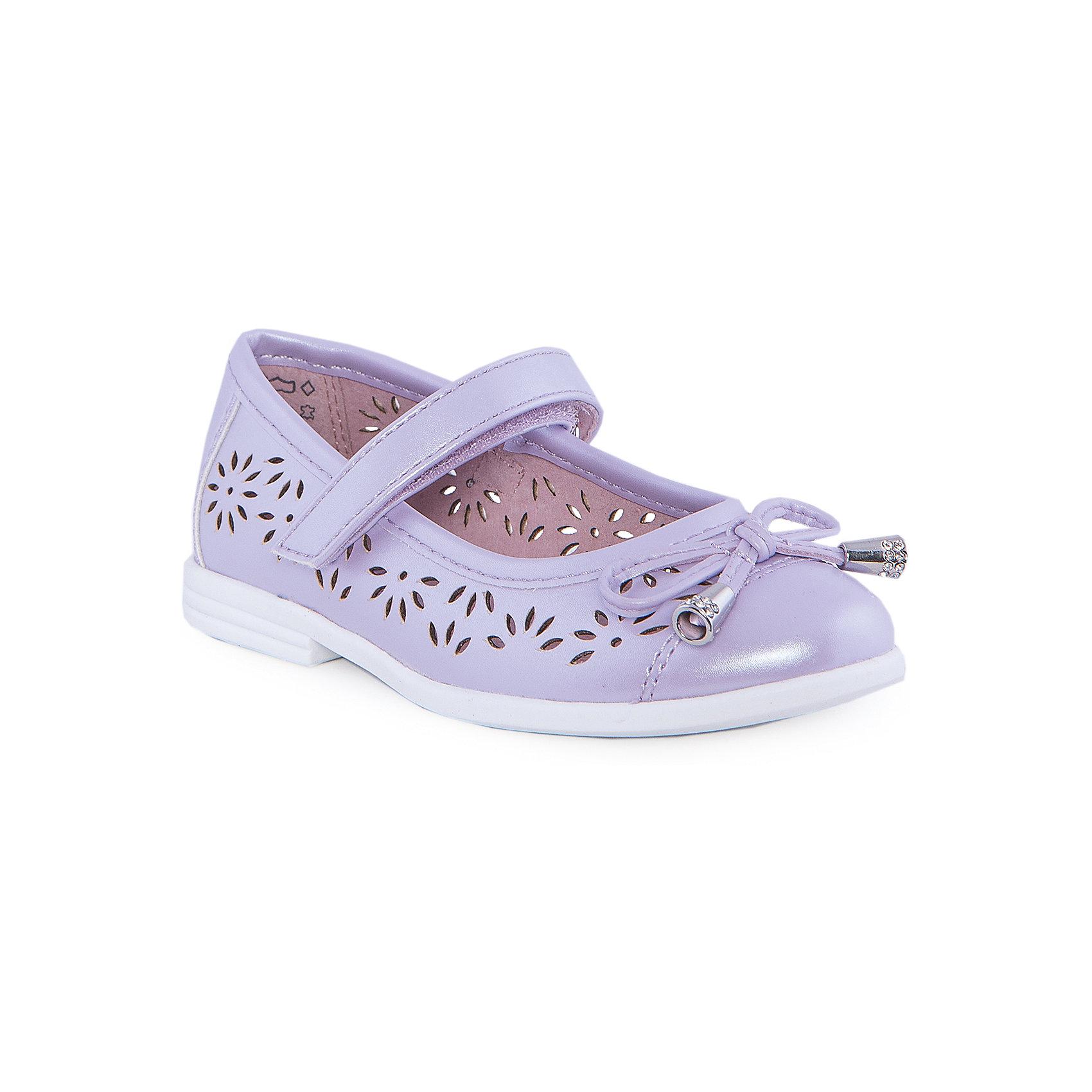 Туфли для девочки КотофейОбувь<br>Туфли для девочки от известного российского бренда Котофей <br><br>Удобные туфли выполнены в красивом сиреневом цвете, украшены перфорацией. <br>Модель легко надевается. Удобная подошва позволяет избегать скольжения практически на любой поверхности.<br><br>Особенности модели:<br><br>- цвет: сиреневый;<br>- тонкая гибкая подошва;<br>- застежка: липучка;<br>- вид крепления обуви: клеевой;<br>- качественные материалы;<br>- декорированы вырубленным узором и бантом;<br>- хорошее облегание.<br><br>Дополнительная информация:<br><br>Состав: <br><br>верх - искусственная кожа;<br>подошва - ТЭП.<br><br>Туфли для девочки Котофей можно купить в нашем магазине.<br><br>Ширина мм: 227<br>Глубина мм: 145<br>Высота мм: 124<br>Вес г: 325<br>Цвет: фиолетовый<br>Возраст от месяцев: 24<br>Возраст до месяцев: 36<br>Пол: Женский<br>Возраст: Детский<br>Размер: 26,27,25,28,29<br>SKU: 4565845