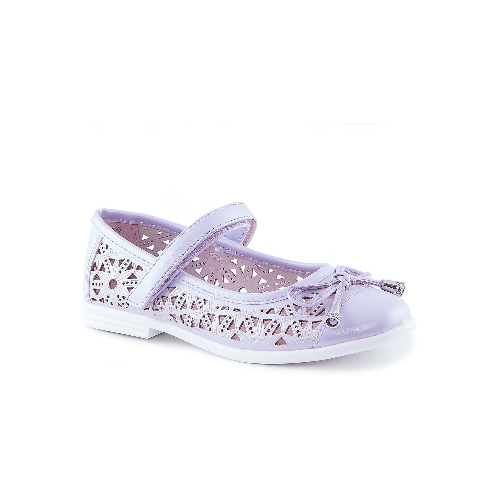 Туфли для девочки КотофейОбувь<br>Туфли для девочки от известного российского бренда Котофей <br><br>Удобные туфли выполнены в красивом сиреневом цвете, украшены перфорацией. <br>Модель легко надевается. Удобная подошва позволяет избегать скольжения практически на любой поверхности.<br><br>Особенности модели:<br><br>- цвет: сиреневый;<br>- тонкая гибкая подошва;<br>- застежка: липучка;<br>- вид крепления обуви: клеевой;<br>- качественные материалы;<br>- декорированы вырубленным узором и бантом;<br>- хорошее облегание.<br><br>Дополнительная информация:<br><br>Состав: <br><br>верх - искусственная кожа;<br>подошва - ТЭП.<br><br>Туфли для девочки Котофей можно купить в нашем магазине.<br><br>Ширина мм: 227<br>Глубина мм: 145<br>Высота мм: 124<br>Вес г: 325<br>Цвет: фиолетовый<br>Возраст от месяцев: 72<br>Возраст до месяцев: 84<br>Пол: Женский<br>Возраст: Детский<br>Размер: 30,34,35,33,32,31<br>SKU: 4565899