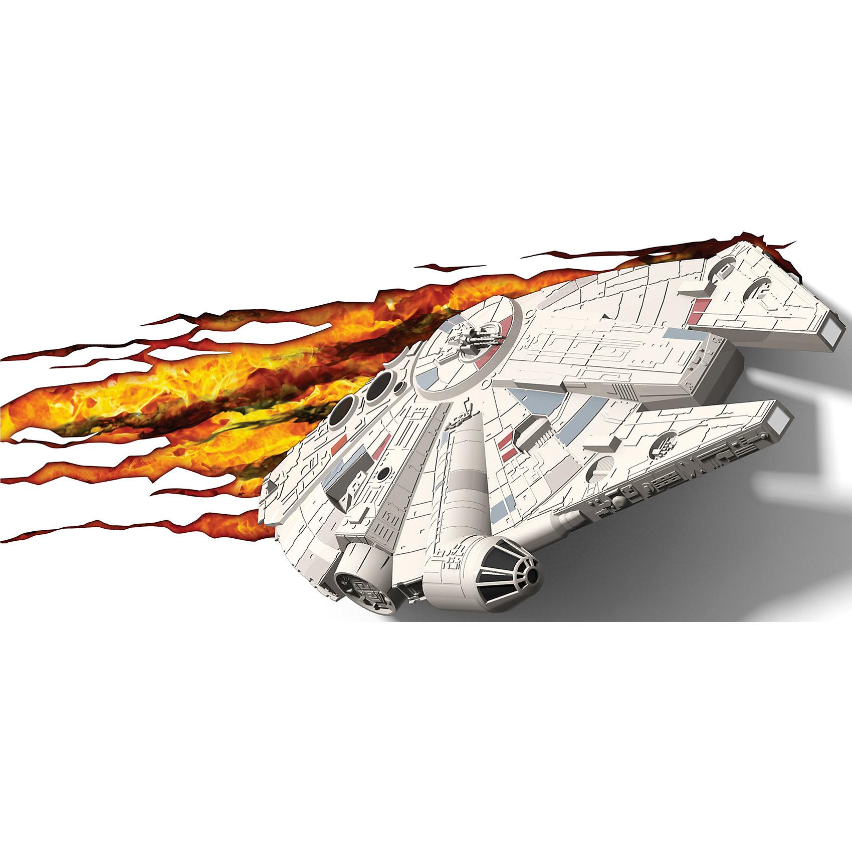 Пробивной 3D светильник Тысячелетний сокол, Звёздные ВойныПробивной 3D светильник Тысячелетний сокол, Звёздные Войны - станет оригинальным декором для комнаты и подарит приятный мягкий свет.<br>Оригинальный реалистичный пробивной 3D светильник, выполненный в виде летательного корабля Хана Соло Тысячелетний сокол из саги Звездные войны, понравится и детям, и взрослым. Он создает необыкновенную реалистичную иллюзию того, что у вас, что то воткнуто в стену, за счет своей специальной формы и 3D наклейки, имитирующей развивающееся пламя. Помимо яркого, даже шокирующие-оригинального дизайна, пробивной светильник обладает функциональным качеством — дарит мягкий приглушенный свет, что позволяет использовать его как ночник над кроватью. Светильник безопасен для малыша, так как работает от батареек и не нагревается. Модель достаточно просто устанавливается на стене с помощью шурупов, входящих в комплект.<br><br>Дополнительная информация:<br><br>- В комплекте: светильник; 3D наклейка; 2 шурупа<br>- Товар предназначен для детей старше 3 лет<br>- Безопасный: без проводов, работает от батареек (3хАА, не входят в комплект)<br>- Работает на светодиодах<br>- Источник света: LED лампа<br>- Не нагревается: всегда можно дотронуться до изделия<br>- Фантастический: выглядит превосходно в любое время суток<br>- Удобный: простая установка (автоматическое выключение через полчаса непрерывной работы)<br>- Материал: пластик<br>- Размер упаковки: 40,1х9,3х23 см.<br>- Вес: 0,73 кг.<br>- ВНИМАНИЕ! Содержит мелкие детали, использовать под непосредственным наблюдением взрослых<br>- Страна происхождения: Китай<br>- Дизайн и разработка: Канада<br><br>Пробивной 3D светильник Тысячелетний сокол, Звёздные Войны можно купить в нашем интернет-магазине.<br><br>Ширина мм: 401<br>Глубина мм: 93<br>Высота мм: 230<br>Вес г: 730<br>Возраст от месяцев: 36<br>Возраст до месяцев: 2147483647<br>Пол: Унисекс<br>Возраст: Детский<br>SKU: 4566017