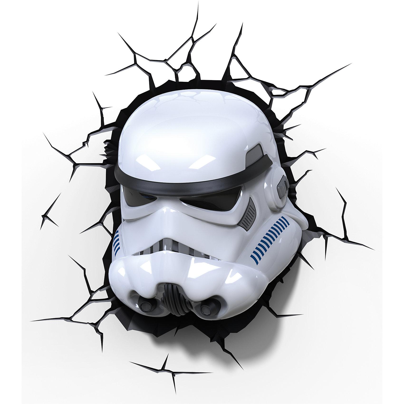 Пробивной 3D светильник Штурмовик, Звёздные ВойныЛампы, ночники, фонарики<br>Пробивной 3D светильник Штурмовик, Звёздные Войны - этот светильник станет оригинальным декором для комнаты и подарит приятный мягкий свет.<br>Оригинальный реалистичный пробивной 3D светильник, выполненный в виде шлема Штормтрупера из саги Звездные войны, понравится и детям, и взрослым. Он создает необыкновенную реалистичную иллюзию того, что у вас, что то воткнуто в стену, за счет своей специальной формы и 3D наклейки, имитирующей трещины. Помимо яркого, даже шокирующие-оригинального дизайна, пробивной светильник обладает функциональным качеством — дарит мягкий приглушенный свет, что позволяет использовать его как ночник над кроватью. Светильник безопасен для малыша, так как работает от батареек и не нагревается. Модель достаточно просто устанавливается на стене с помощью шурупов, входящих в комплект.<br><br>Дополнительная информация:<br><br>- В комплекте: светильник; 3D наклейка-имитация трещин; 2 шурупа<br>- Товар предназначен для детей старше 3 лет<br>- Безопасный: без проводов, работает от батареек (3хАА, не входят в комплект)<br>- Работает на светодиодах<br>- Источник света: LED лампа<br>- Не нагревается: всегда можно дотронуться до изделия<br>- Фантастический: выглядит превосходно в любое время суток<br>- Удобный: простая установка (автоматическое выключение через полчаса непрерывной работы)<br>- Материал: пластик<br>- Размер упаковки: 26,7х14,3х29,7 см.<br>- Вес: 0,85 кг.<br>- ВНИМАНИЕ! Содержит мелкие детали, использовать под непосредственным наблюдением взрослых<br>- Страна происхождения: Китай<br>- Дизайн и разработка: Канада<br><br>Пробивной 3D светильник Штурмовик, Звёздные Войны можно купить в нашем интернет-магазине.<br><br>Ширина мм: 267<br>Глубина мм: 143<br>Высота мм: 297<br>Вес г: 850<br>Возраст от месяцев: 36<br>Возраст до месяцев: 2147483647<br>Пол: Унисекс<br>Возраст: Детский<br>SKU: 4566018