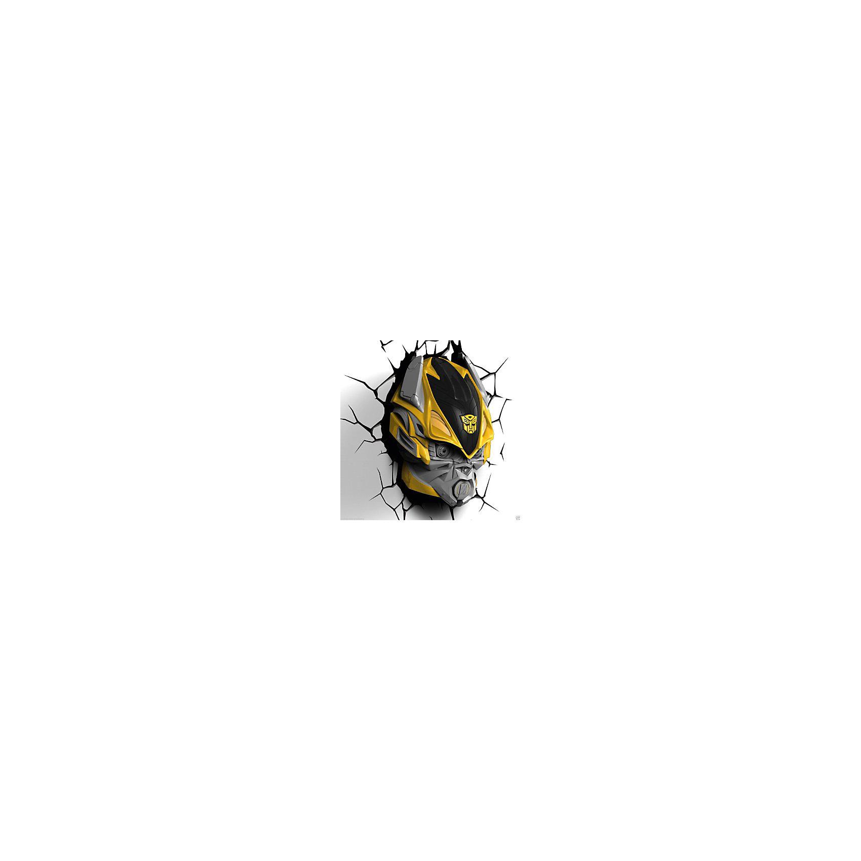 Пробивной 3D светильник Бамблби, ТрансформерыПробивной 3D светильник Бамблби, Трансформеры – этот светильник станет оригинальным декором для комнаты и подарит приятный мягкий свет.<br>Оригинальный реалистичный пробивной 3D светильник, выполненный в виде головы автобота Бамблби - героя блокбастера Трансформеры, понравится и детям, и взрослым. Он создает необыкновенную реалистичную иллюзию того, что у вас, что то воткнуто в стену, за счет своей специальной формы и 3D наклейки, имитирующей трещины. Помимо яркого, даже шокирующие-оригинального дизайна, пробивной светильник обладает функциональным качеством — дарит мягкий приглушенный свет, что позволяет использовать его как ночник над кроватью. Светильник безопасен для малыша, так как работает от батареек и не нагревается. Модель достаточно просто устанавливается на стене с помощью шурупов, входящих в комплект.<br><br>Дополнительная информация:<br><br>- В комплекте: светильник; 3D наклейка-имитация трещин; 2 шурупа<br>- Товар предназначен для детей старше 3 лет<br>- Безопасный: без проводов, работает от батареек (3хАА, не входят в комплект)<br>- Работает на светодиодах<br>- Источник света: LED лампа<br>- Не нагревается: всегда можно дотронуться до изделия<br>- Фантастический: выглядит превосходно в любое время суток<br>- Удобный: простая установка (автоматическое выключение через полчаса непрерывной работы)<br>- Материал: пластик<br>- Размер упаковки: 22,5х15,5х30,5 см.<br>- Вес: 0,89 кг.<br>- ВНИМАНИЕ! Содержит мелкие детали, использовать под непосредственным наблюдением взрослых<br>- Страна происхождения: Китай<br>- Дизайн и разработка: Канада<br><br>Пробивной 3D светильник Бамблби, Трансформеры можно купить в нашем интернет-магазине.<br><br>Ширина мм: 225<br>Глубина мм: 155<br>Высота мм: 305<br>Вес г: 890<br>Возраст от месяцев: 36<br>Возраст до месяцев: 2147483647<br>Пол: Унисекс<br>Возраст: Детский<br>SKU: 4566022