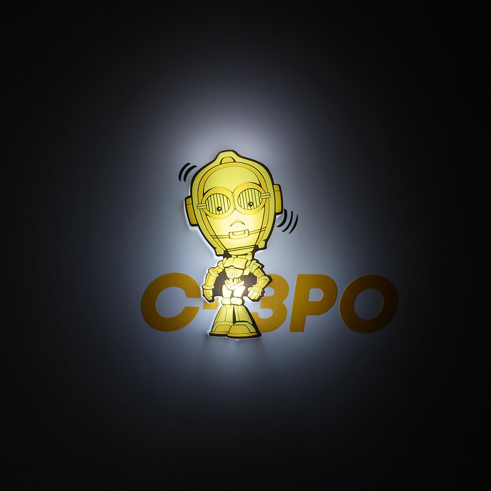 Пробивной мини 3D светильник C-3PO, Звёздные ВойныПробивной мини 3D светильник C-3PO, Звёздные Войны – светильник станет оригинальным декором для комнаты и подарит приятный мягкий свет.<br>Оригинальный пробивной 3D светильник, выполненный в виде дроида C-3PO – героя саги Звездные войны, создаст сказочную атмосферу в детской комнате. Мягкое приглушенное свечение наполнит детскую комнату теплом и уютом и избавит ребенка от ночных страхов. В основе работы светильника заложена светодиодная LED-технология, благодаря которой - он лёгкий, затрачивает небольшое количество энергии, не нагревается. Включение и выключения светильника выполняется путем передвижения рычажка. Приятным дополнением к светильнику служат тематические наклейки для декора.<br><br>Дополнительная информация:<br><br>- В комплекте: светильник; наклейки; крепеж<br>- Товар предназначен для детей старше 3 лет<br>- Безопасный: без проводов, работает от батареек (2хААА, не входят в комплект)<br>- Используются светодиоды: LED технология<br>- Не нагревается: всегда можно дотронуться до изделия<br>- Фантастический: выглядит превосходно в любое время суток<br>- Удобный: простая установка (автоматическое выключение через полчаса непрерывной работы)<br>- Материал: пластик, металл<br>- Размер светильника: 7,6x2,5x12,7 см.<br>- Размер упаковки: 16,9х4,1х16 см.<br>- Вес: 150 г.<br>- ВНИМАНИЕ! Содержит мелкие детали, использовать под непосредственным наблюдением взрослых<br>- Страна происхождения: Китай<br>- Дизайн и разработка: Канада<br><br>Пробивной мини 3D светильник C-3PO, Звёздные Войны можно купить в нашем интернет-магазине.<br><br>Ширина мм: 169<br>Глубина мм: 41<br>Высота мм: 160<br>Вес г: 150<br>Возраст от месяцев: 36<br>Возраст до месяцев: 2147483647<br>Пол: Унисекс<br>Возраст: Детский<br>SKU: 4566032