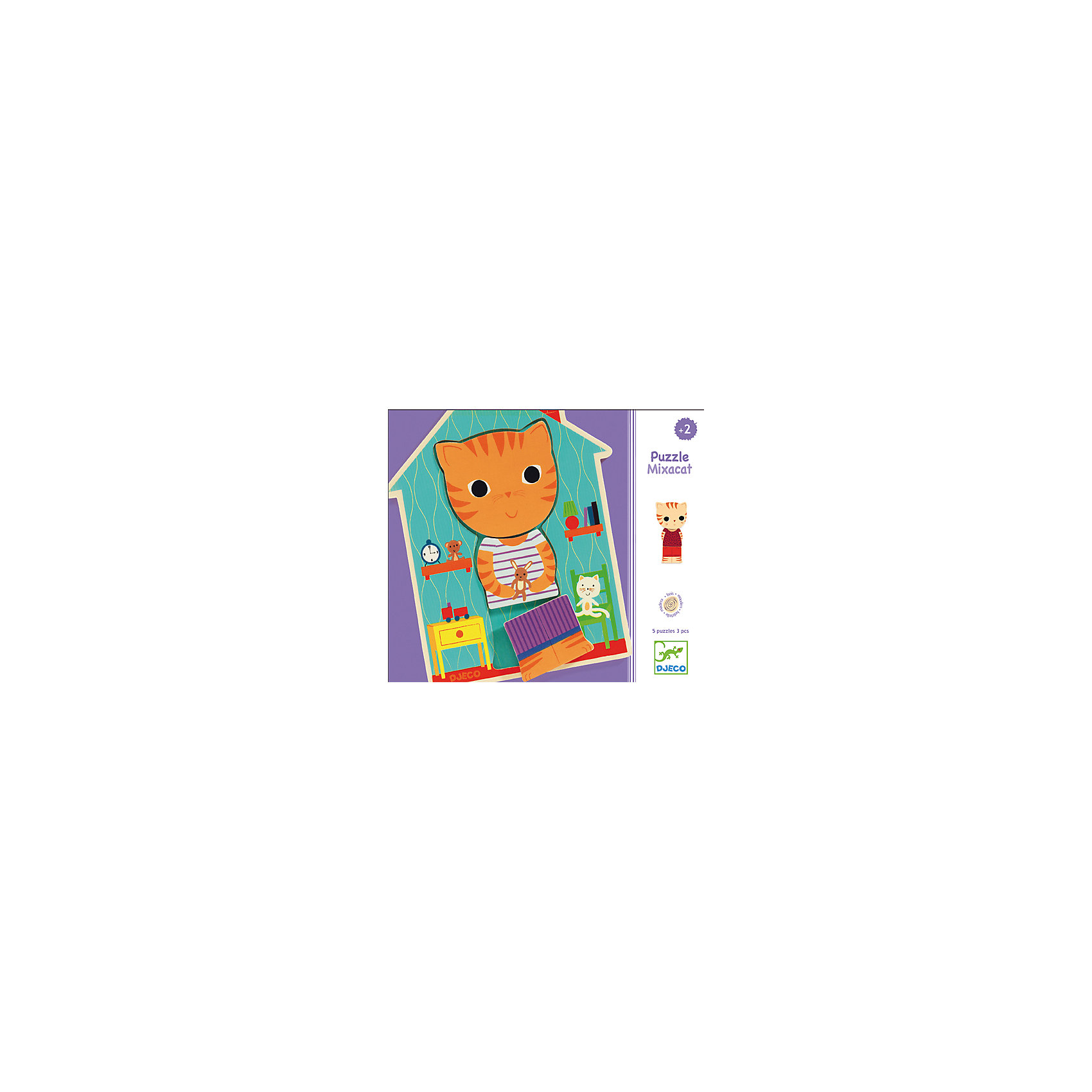 Деревянный пазл «Миксакэт», DJECOДеревянный пазл Миксакэт, Djeco (Джеко) - увлекательный развивающий набор, который станет отличным подарком для Вашего ребенка. В комплекте рамка-основа в виде домика и 15 деревянных элементов, из которых малыш может собрать 5 различных котят. Каждый котенок состоит из головки, ножек и животика. Они разного цвета и одеты в разную одежду. Ребенку предстоит правильно сложить все элементы, чтобы получилась забавная фигурка котенка или, собрав детали от разных котят, создавать новых животных в разной одежде. Игровой набор способствует развитию цветового восприятия, логического мышления и мелкой моторики, помогает искать сходства и различия.<br> <br>Дополнительная информация:<br><br>- Материал: дерево. <br>- Размер рамки: 18,7 х 14,5 х  0,9 см.<br>- Размер упаковки: 21,5 х 18,5 х 4,5 см.<br>- Вес: 120 гр.<br><br>Деревянный пазл Миксакэт, Djeco (Джеко), можно купить в нашем интернет-магазине.<br><br>Ширина мм: 190<br>Глубина мм: 220<br>Высота мм: 50<br>Вес г: 530<br>Возраст от месяцев: 24<br>Возраст до месяцев: 60<br>Пол: Унисекс<br>Возраст: Детский<br>SKU: 4566277