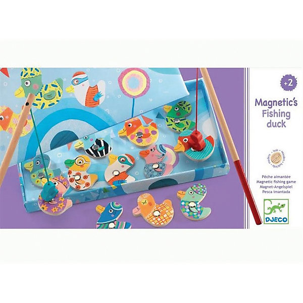 Магнитная игра Рыбалка, DJECOНастольные игры для всей семьи<br>Магнитная игра Поймай утку, Djeco (Джеко) - новая увлекательная версия любимой малышами игры Рыбалка. В комплекте Вы найдете 2 удочки и 12 деревянных фигурок уточек. Цель игры - поймать всех уточек с помощью магнитных удочек. Уточки размещаются на картонной подложке голубого цвета. С яркими и красивыми фигурками можно играть отдельно. Набор изготовлен из безопасных высококачественных материалов. Развивает внимательность и ловкость, тренирует мелкую моторику.<br><br>Дополнительная информация:<br><br>- В наборе: 2 удочки, 12 уточек.<br>- Материал: дерево, магнит.<br>- Размер упаковки: 28 x 15 x 2,5 см.<br>- Вес: 0,3 кг. <br><br>Магнитную игру Поймай утку, Djeco (Джеко), можно купить в нашем магазине.<br><br>Ширина мм: 150<br>Глубина мм: 280<br>Высота мм: 30<br>Вес г: 340<br>Возраст от месяцев: 24<br>Возраст до месяцев: 60<br>Пол: Унисекс<br>Возраст: Детский<br>SKU: 4566279