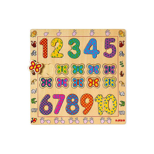 Деревянная рамка-вкладыш Цифры, DJECOРамки-вкладыши<br>Деревянная рамка-вкладыш Цифры, Djeco (Джеко), в веселой игровой форме познакомит Вашего малыша с цифрами от 1 до 10. На деревянной доске расположены ячейки, в которые нужно поместить соответствующие элементы с цифрами и нарядными бабочками. Каждый элемент имеет яркую раскраску и украшен разнообразными узорами, что делает изучение счета еще интереснее. Игрушка изготовлена из качественного экологичного материала и покрыта нетоксичными красками. Раскладывая элементы по ячейкам малыш изучит счет и цвета, разовьет мелкую моторику пальцев, логику и воображение.<br><br>Дополнительная информация:<br><br>- Материал: дерево.<br>- Размер упаковки: 30 х 30 х 1 см.<br>- Вес: 0,56 кг. <br><br>Деревянную рамку-вкладыш Цифры, Djeco (Джеко), можно купить в нашем магазине.<br>Ширина мм: 300; Глубина мм: 300; Высота мм: 10; Вес г: 560; Возраст от месяцев: 24; Возраст до месяцев: 60; Пол: Унисекс; Возраст: Детский; SKU: 4566280;