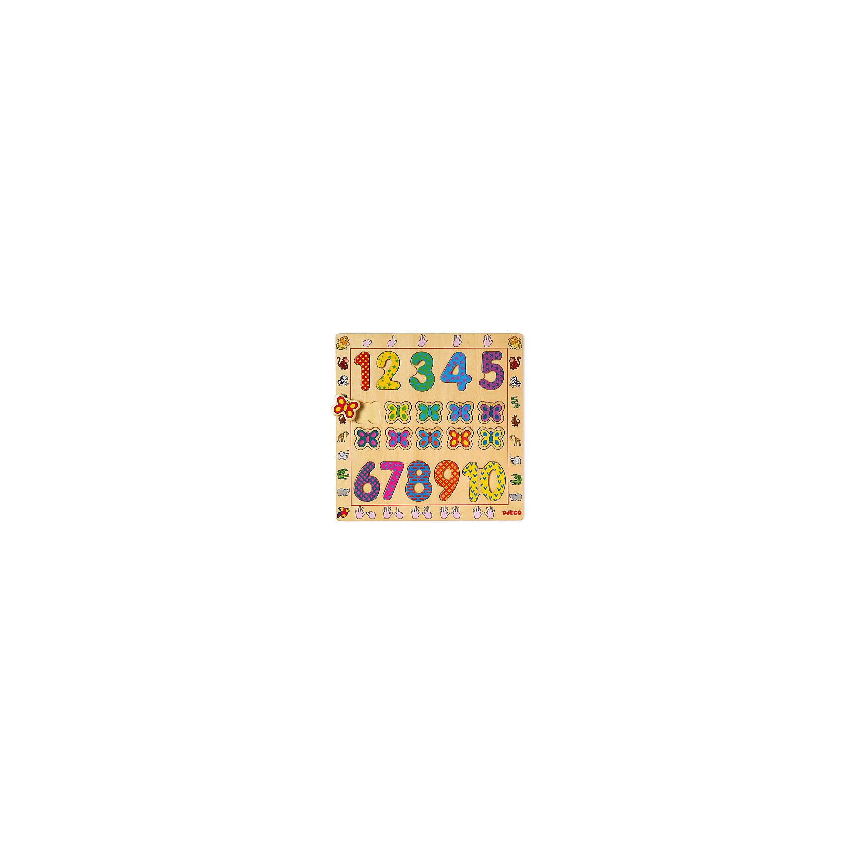 Деревянная рамка-вкладыш Цифры, DJECOДеревянные игры и пазлы<br>Деревянная рамка-вкладыш Цифры, Djeco (Джеко), в веселой игровой форме познакомит Вашего малыша с цифрами от 1 до 10. На деревянной доске расположены ячейки, в которые нужно поместить соответствующие элементы с цифрами и нарядными бабочками. Каждый элемент имеет яркую раскраску и украшен разнообразными узорами, что делает изучение счета еще интереснее. Игрушка изготовлена из качественного экологичного материала и покрыта нетоксичными красками. Раскладывая элементы по ячейкам малыш изучит счет и цвета, разовьет мелкую моторику пальцев, логику и воображение.<br><br>Дополнительная информация:<br><br>- Материал: дерево.<br>- Размер упаковки: 30 х 30 х 1 см.<br>- Вес: 0,56 кг. <br><br>Деревянную рамку-вкладыш Цифры, Djeco (Джеко), можно купить в нашем магазине.<br><br>Ширина мм: 300<br>Глубина мм: 300<br>Высота мм: 10<br>Вес г: 560<br>Возраст от месяцев: 24<br>Возраст до месяцев: 60<br>Пол: Унисекс<br>Возраст: Детский<br>SKU: 4566280