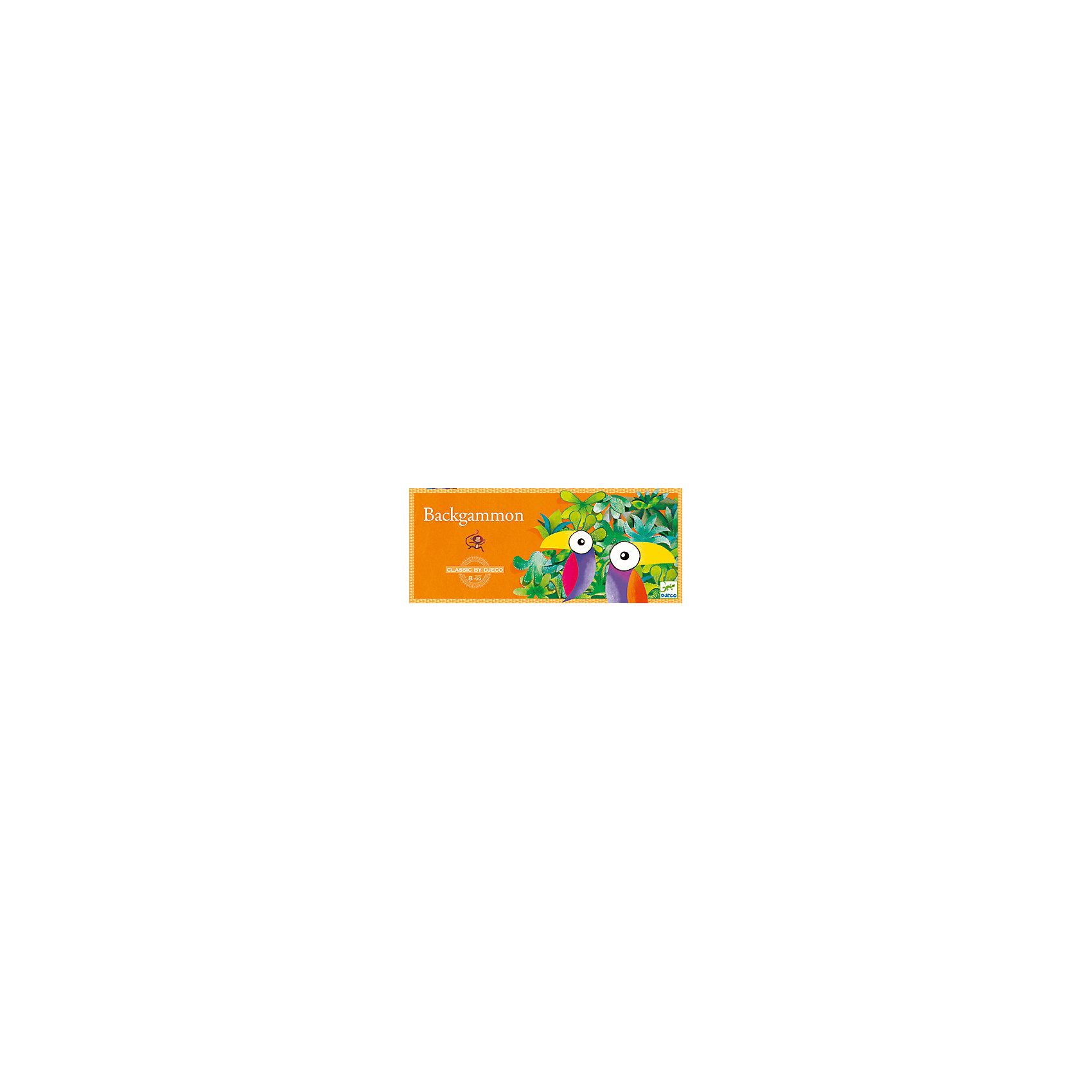 Игра Нарды, DJECOДеревянные игры и пазлы<br>Игра Нарды, Djeco (Джеко) - это новый увлекательный вариант классической игры для детей в возрасте от 8 лет. В комплекте Вы найдете игровую доску, 20 фишек в виде коричневых и бежевых обезьян и два игральных кубика. Цель игры состоит в том, чтобы вывести всех обезьян из джунглей. Перед началом игры каждый игрок выбирает цвет обезьян и расставляет их на доске, в порядке, предусмотренном правилами. Туканы обозначают клетки выхода фишек обоих игроков. Участники по очереди бросают 2 кубика и переставляют одну или несколько своих фишек-обезьян на количество клеток, равное числам, выпавшим на каждом из 2 кубиков. Перемещение фишек по доске осуществляется в направлении, указанном стрелкой. Когда игрок привел всех своих обезьян на клетки выхода, он может начинать выводить их с доски. Выводить обезьяну нужно в соответствии с указанными кубиками числами, которые обозначают количество клеток перед выходом. Выигрывает игрок, который первым выведет своих обезьян с доски. <br><br>Дополнительная информация:<br><br>- В комплекте: игровая доска, 10 коричневых обезьян, 10 бежевых обезьян, 2 игральных кубика.<br>- Материал: дерево.<br>- Размер упаковки: 42 х 16 х 4,5 см.<br>- Вес: 0,28 кг. <br><br>Игру Нарды, Djeco (Джеко), можно купить в нашем магазине.<br><br>Ширина мм: 30<br>Глубина мм: 420<br>Высота мм: 160<br>Вес г: 690<br>Возраст от месяцев: 96<br>Возраст до месяцев: 132<br>Пол: Унисекс<br>Возраст: Детский<br>SKU: 4566285