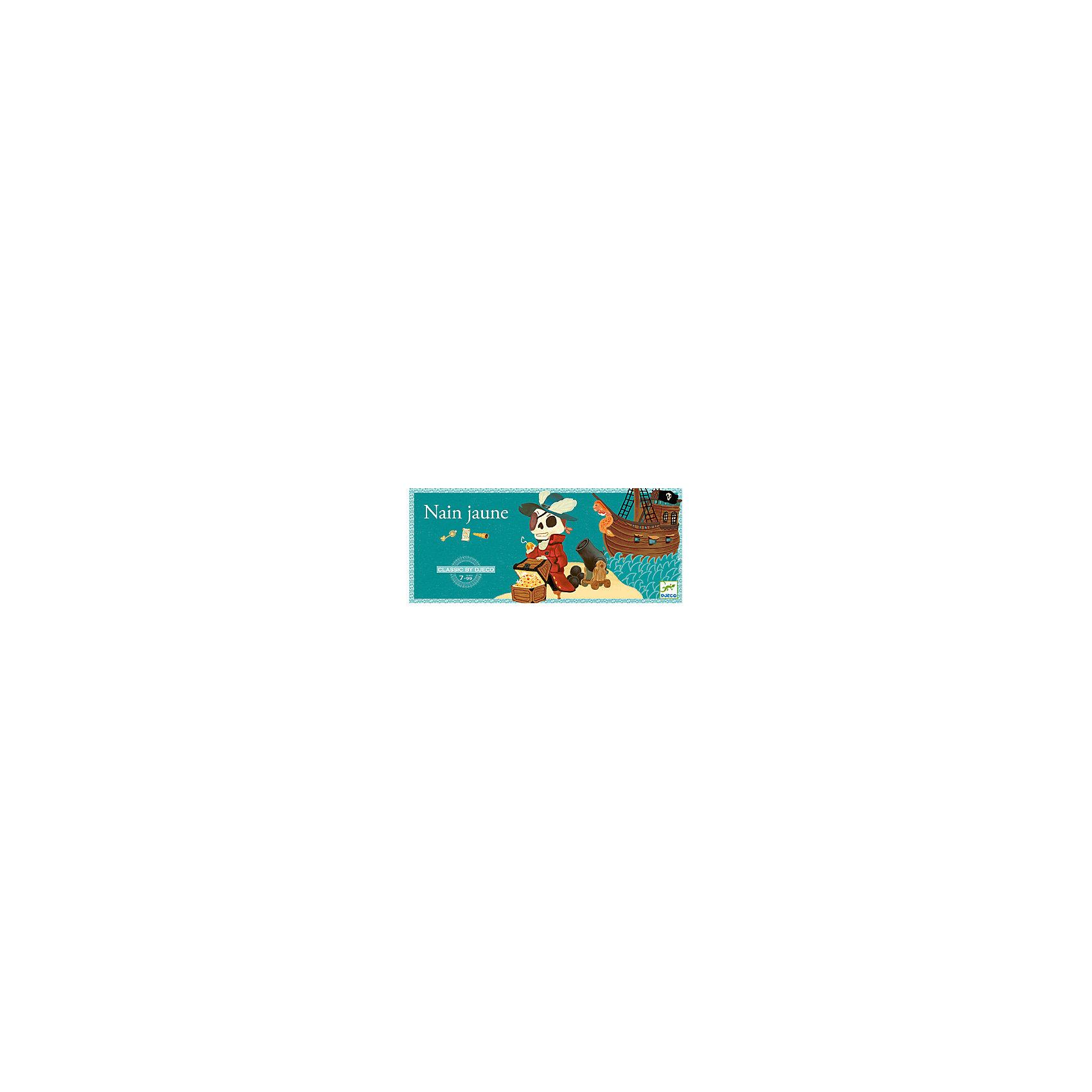 Игра Желтый карлик, DJECOИгры для развлечений<br>Игра Желтый карлик, Djeco (Джеко) - увлекательная настольная игра, которая придется пот душе всем любителям морских приключений и пиратской тематики. В игре могут участвовать от 2 до 4 игроков. Цель игры состоит в том, чтобы собрать как можно больше сокровищ. Перед началом игры, каждый игрок получает по 19 жетонов, которые обозначают различные драгоценности, а также определенное число карт. Остальные карты откладываются рубашкой вверх и используются в следующей партии. Игровая доска помещается по центру стола между игроками. В центре доски находится сундук капитана Крюка. Игроки делают ставки и по очереди выкладывают по старшинству карты в стопку. Если игрок не может продолжить начатую серию, ход переходит к следующему игроку, который должен продолжить эту же серию. Сбросивший все карты получает слиток золота за каждую карту, которая остается на руках у остальных участников. Побеждает тот, кто соберет за игру больше всех сокровищ.<br><br>Дополнительная информация:<br><br>- В комплекте: 1 игровая доска с 5 картами выигрыша, 1 сундук капитана Крюка, 52 карты (в том числе 5 выигрышных), 78 жетонов (12 алмазов, 12 рубинов, 12 сапфиров, 12 изумрудов, 30 слитков золота), подробные правила игры.<br>- Материал: картон, дерево.<br>- Размер упаковки: 42 x 16 x 3,5 см.<br><br>Игру Желтый карлик, Djeco (Джеко), можно купить в нашем магазине.<br><br>Ширина мм: 40<br>Глубина мм: 420<br>Высота мм: 160<br>Вес г: 850<br>Возраст от месяцев: 84<br>Возраст до месяцев: 120<br>Пол: Унисекс<br>Возраст: Детский<br>SKU: 4566287