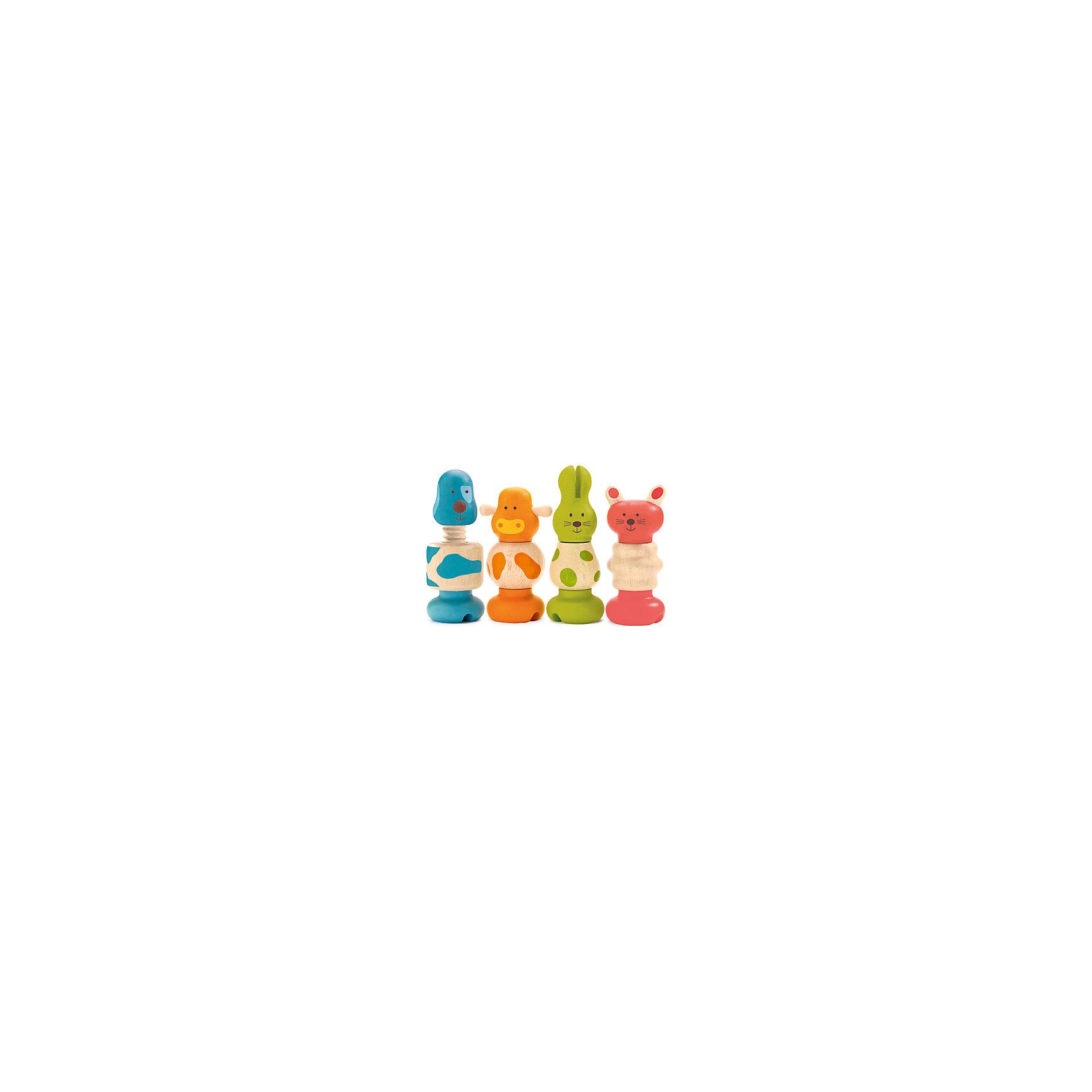 Набор игрушек Животные, DJECOРазвивающие игрушки<br>Набор игрушек Животные, Djeco (Джеко) - это чудесный яркий конструктор для самых маленьких. В комплекте Вы найдете крупные разноцветные детали, из которых можно собрать четыре деревянные фигурки в виде собачки, коровки, кошечки и зайца. Все детали можно менять местами и комбинировать, что поможет малышу развить логику, мелкую моторику и познавательную активность, научиться различать фигуры, форму и цвет. Детали в форме болтов и гаек выполнены из высококачественных и экологически чистых материалов и очень приятны на ощупь.<br><br>Дополнительная информация:<br><br>- В комплекте: 12 деталей для сборки 4 фигурок животных (собачка, коровка, кошечка, заяц).<br>- Материал: дерево.<br>- Размер упаковки: 22 х 12,5 х 6 см.<br>- Вес: 0,22 кг.<br><br>Набор игрушек Животные, Djeco (Джеко), можно купить в нашем магазине.<br><br>Ширина мм: 130<br>Глубина мм: 220<br>Высота мм: 60<br>Вес г: 390<br>Возраст от месяцев: 180<br>Возраст до месяцев: 540<br>Пол: Унисекс<br>Возраст: Детский<br>SKU: 4566295