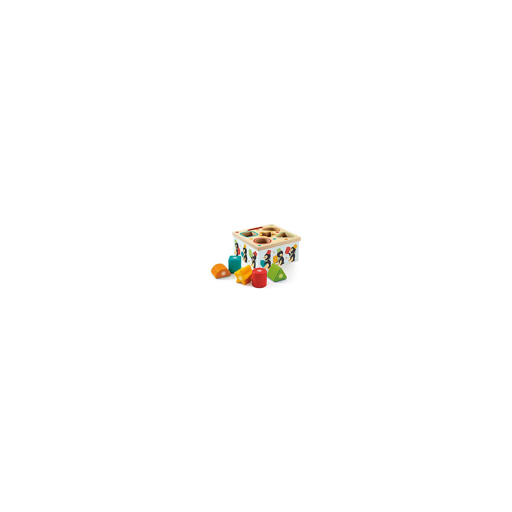 Сортер Пингвин, DJECOСортеры<br>Сортер Пингвин, Djeco (Джеко) - красочная развивающая игрушка, которая станет одной из любимых у Вашего малыша. Сортер выполнен в виде яркой коробочки, украшенной изображениями симпатичных пингвинчиков. Также в комплект входят разноцветные геометрические фигуры. В верхней части сортера имеются отверстия различных геометрических форм. Малышу предлагается найти фигуры, соответствующие отверстиям и поместить их в углубления. Все предметы изготовлены из высококачественного, экологически чистого материала - дерева и покрыты безопасными красками без запаха. Игрушка развивает логическое мышление, усидчивость и мелкую моторику рук, знакомит ребенка с цветами и формами.<br><br>Дополнительная информация:<br><br>- В комплекте: сортер, 5 геометрических фигурок.<br>- Материал: дерево.<br>- Размер игрушки: 12 х 6,5 х 2 см.<br>- Размер упаковки: 13 х 13 х 7 см.<br>- Вес: 0,3 кг.<br><br>Сортер Пингвин, Djeco (Джеко), можно купить в нашем магазине.<br><br>Ширина мм: 130<br>Глубина мм: 130<br>Высота мм: 70<br>Вес г: 330<br>Возраст от месяцев: 180<br>Возраст до месяцев: 540<br>Пол: Унисекс<br>Возраст: Детский<br>SKU: 4566299