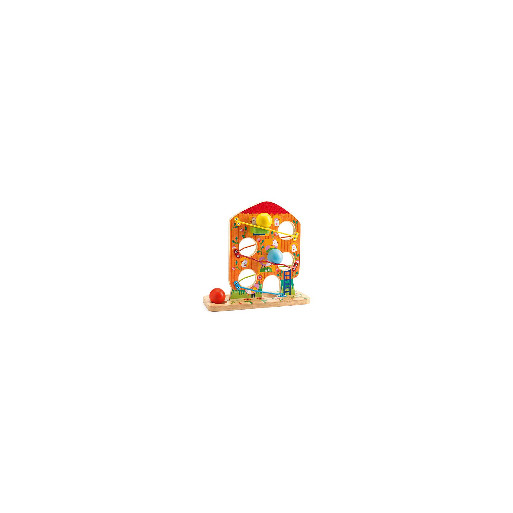 DJECO Кугельбан Птичий дом, DJECO развивающая игрушка djeco зверюшки попрыгунчики пастель 06105