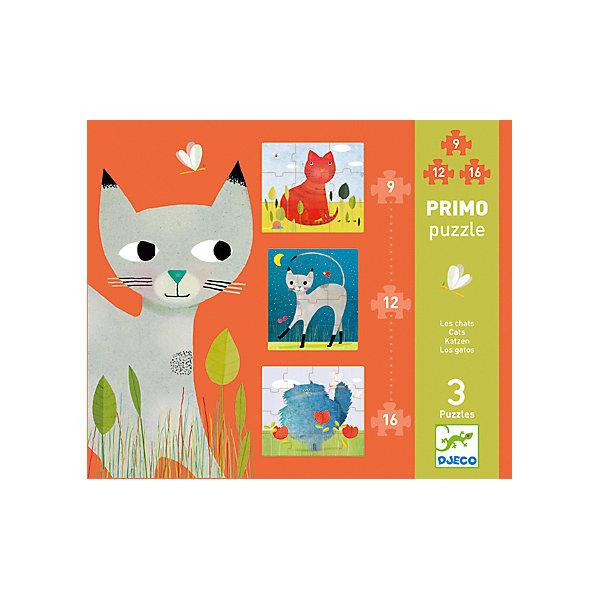 Пазл Коты, DJECOПазлы для малышей<br>Пазл Коты, Djeco (Джеко) - увлекательный развивающий набор, который станет отличным подарком для Вашего ребенка. С помощью входящих в набор деталей он сможет собрать 3 красочных пазла с изображениями забавных котов. Пазлы отличаются количеством деталей и уровнем сложности, так, самая простая картинка состоят из 9 деталей, самая сложная - из 16. Собранные картинки можно поместить в рамочки и украсить ими детскую комнату. Набор оформлен в красивую подарочную коробку. Собирание пазла способствует развитию логического мышления, внимания, мелкой моторики и координации движений.<br> <br>Дополнительная информация:<br><br>- Материал: картон. <br>- Количество деталей: 1 картинка из 9 деталей (легкий уровень), 1 картинка из 12 деталей (средний уровень), 1 картинка из 16 деталей (сложный уровень).<br>- Размер упаковки: 25,5 x 21,5 x 3,5 см.<br><br>Пазл Коты, Djeco (Джеко), можно купить в нашем интернет-магазине.<br><br>Ширина мм: 220<br>Глубина мм: 260<br>Высота мм: 40<br>Вес г: 610<br>Возраст от месяцев: 36<br>Возраст до месяцев: 72<br>Пол: Унисекс<br>Возраст: Детский<br>SKU: 4566303