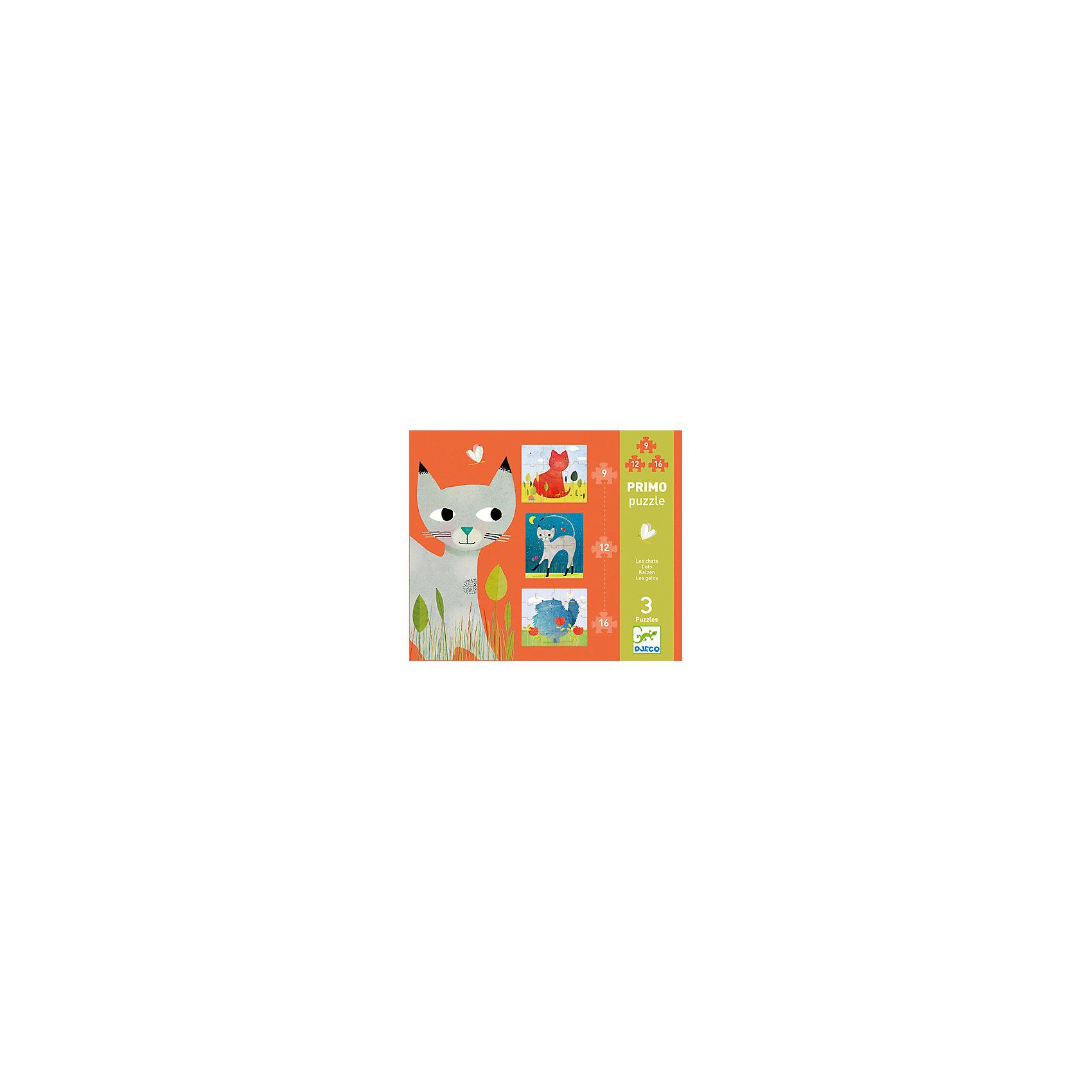 Пазл Коты, DJECOДеревянные игры и пазлы<br>Пазл Коты, Djeco (Джеко) - увлекательный развивающий набор, который станет отличным подарком для Вашего ребенка. С помощью входящих в набор деталей он сможет собрать 3 красочных пазла с изображениями забавных котов. Пазлы отличаются количеством деталей и уровнем сложности, так, самая простая картинка состоят из 9 деталей, самая сложная - из 16. Собранные картинки можно поместить в рамочки и украсить ими детскую комнату. Набор оформлен в красивую подарочную коробку. Собирание пазла способствует развитию логического мышления, внимания, мелкой моторики и координации движений.<br> <br>Дополнительная информация:<br><br>- Материал: картон. <br>- Количество деталей: 1 картинка из 9 деталей (легкий уровень), 1 картинка из 12 деталей (средний уровень), 1 картинка из 16 деталей (сложный уровень).<br>- Размер упаковки: 25,5 x 21,5 x 3,5 см.<br><br>Пазл Коты, Djeco (Джеко), можно купить в нашем интернет-магазине.<br><br>Ширина мм: 220<br>Глубина мм: 260<br>Высота мм: 40<br>Вес г: 610<br>Возраст от месяцев: 36<br>Возраст до месяцев: 72<br>Пол: Унисекс<br>Возраст: Детский<br>SKU: 4566303
