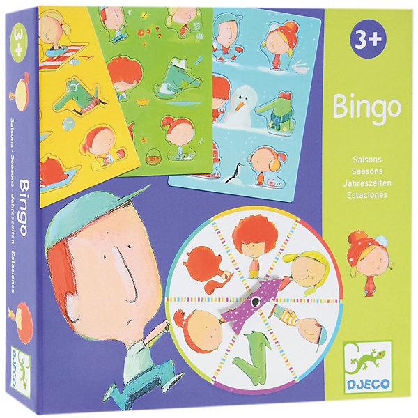 Игра Бинго Времена года, DJECOОкружающий мир<br>Увлекательная настольная игра Бинго Времена года, Djeco (Джеко) - идеальный вариант для совместного времяпрепровождения с ребенком или для детского праздника. В игре могут участвовать от 1 до 4 игроков. Каждый участник получает карточку с пустыми формами, которые надо заполнить соответствующими деталями. В итоге должен получится забавный рисунок на тему четырех сезонов года. Участники по очереди вращают рулетку и сочетают детали карточек в соответствии с выпавшими фигурками на диске. Выигрывает тот, кто первым соберет свою карточку. Игра развивает логическое мышление, сообразительность, внимательность и быстроту реакции. Для детей 3-6 лет.<br><br>Дополнительная информация:<br><br>- В комплекте: 4 карточки, 24 детали-пазла, рулетка. <br>- Материал: многослойный картон.<br>- Диаметр диска: 14 см.<br>- Размер упаковки: 21,5 х 21,5 х 4 см.<br>- Вес: 0,47 кг.<br><br>Настольную игру Бинго Времена года, Djeco (Джеко), можно ,купить в нашем магазине.<br><br>Ширина мм: 210<br>Глубина мм: 210<br>Высота мм: 40<br>Вес г: 560<br>Возраст от месяцев: 36<br>Возраст до месяцев: 72<br>Пол: Унисекс<br>Возраст: Детский<br>SKU: 4566304