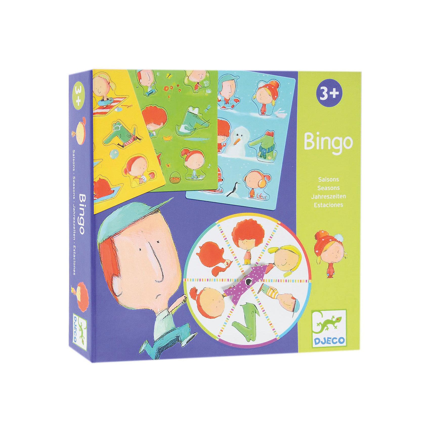 Игра Бинго Времена года, DJECOУвлекательная настольная игра Бинго Времена года, Djeco (Джеко) - идеальный вариант для совместного времяпрепровождения с ребенком или для детского праздника. В игре могут участвовать от 1 до 4 игроков. Каждый участник получает карточку с пустыми формами, которые надо заполнить соответствующими деталями. В итоге должен получится забавный рисунок на тему четырех сезонов года. Участники по очереди вращают рулетку и сочетают детали карточек в соответствии с выпавшими фигурками на диске. Выигрывает тот, кто первым соберет свою карточку. Игра развивает логическое мышление, сообразительность, внимательность и быстроту реакции. Для детей 3-6 лет.<br><br>Дополнительная информация:<br><br>- В комплекте: 4 карточки, 24 детали-пазла, рулетка. <br>- Материал: многослойный картон.<br>- Диаметр диска: 14 см.<br>- Размер упаковки: 21,5 х 21,5 х 4 см.<br>- Вес: 0,47 кг.<br><br>Настольную игру Бинго Времена года, Djeco (Джеко), можно ,купить в нашем магазине.<br><br>Ширина мм: 210<br>Глубина мм: 210<br>Высота мм: 40<br>Вес г: 560<br>Возраст от месяцев: 36<br>Возраст до месяцев: 72<br>Пол: Унисекс<br>Возраст: Детский<br>SKU: 4566304
