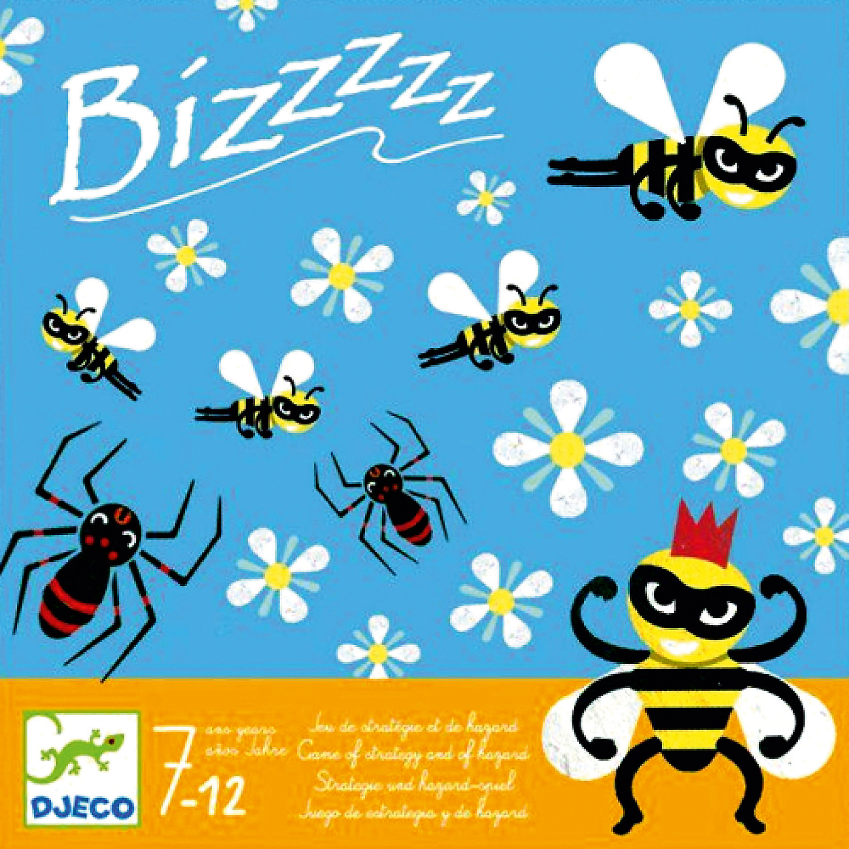 Игра Бззззз, DJECOДеревянные игры и пазлы<br>Игра Бззззз, Djeco (Джеко) - увлекательная стратегическая игра, которая надолго займет внимание детей и не даст им заскучать. Игра рассчитана на двух игроков. Цель игры состоит в том, чтобы пчелки сделали как можно больше мёда, а вредные паучки им не помешали. Каждый из участников по очереди бросает кубик, стараясь при этом, чтобы пчелки из его улья собрали нектар с наибольшего количества цветов. Одновременно игроки пытаются помешать друг другу с помощью злобных паучков. Набор оформлен в яркую подарочную коробочку. Игра отлично развивает внимательность, стратегические и логические способности.<br><br>Дополнительная информация:<br><br>- В комплекте: 1 игровое поле, 31 фишка с пчелками, другими насекомыми и цветочками, 1 деревянный кубик.<br>- Материал: картон, дерево<br>- Размер упаковки: 21,5 х 21,5 х 3 см.<br><br>Игру Бззззз, Djeco (Джеко), можно купить в нашем магазине.<br><br>Ширина мм: 40<br>Глубина мм: 220<br>Высота мм: 220<br>Вес г: 540<br>Возраст от месяцев: 84<br>Возраст до месяцев: 120<br>Пол: Унисекс<br>Возраст: Детский<br>SKU: 4566308