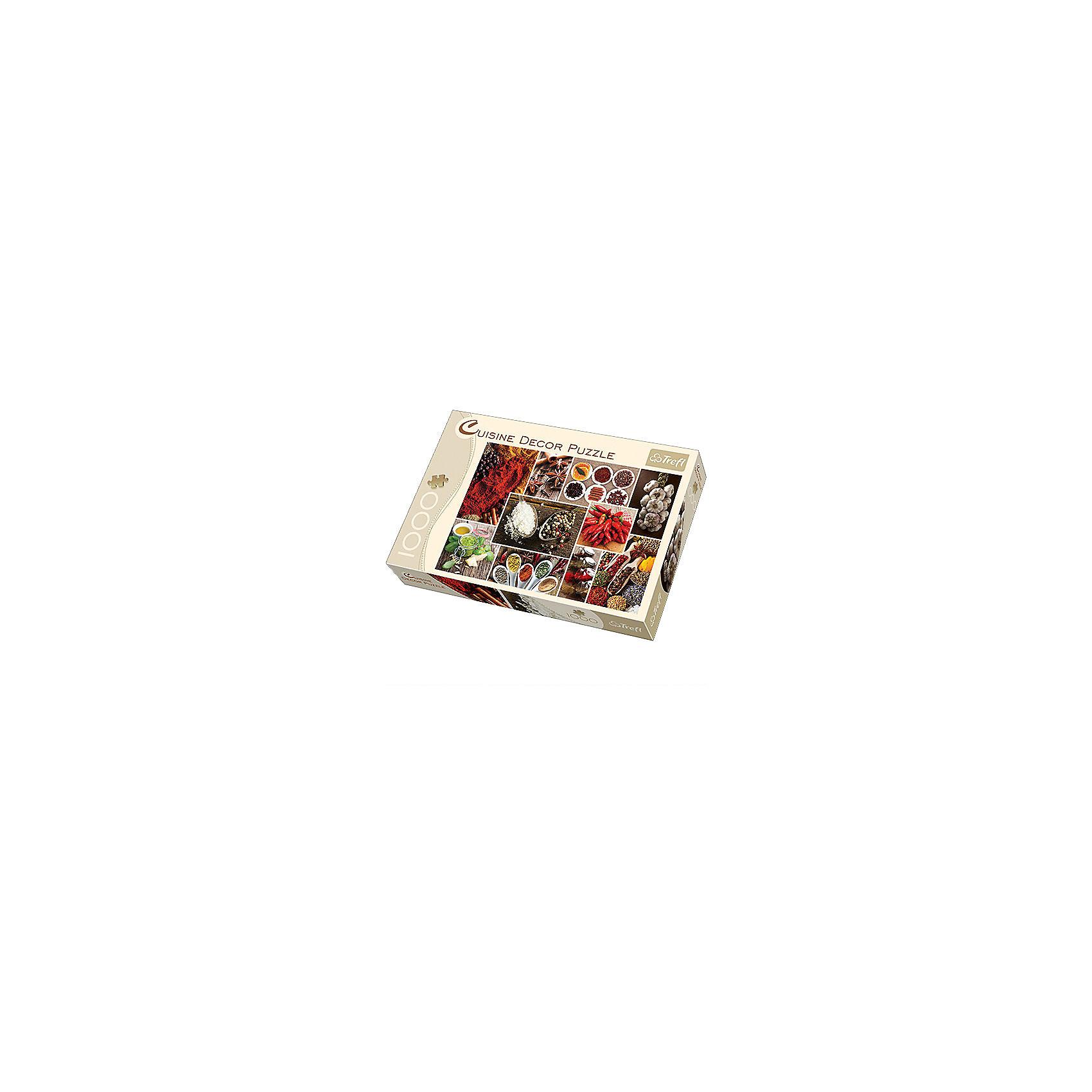 Пазл Специи - коллаж, 1000 деталей, TreflКлассические пазлы<br>Любителям всевозможных душистых приправ и красочных коллажей, способных украсить даже самый взыскательный кухонный интерьер, придется по душе новая серия больших пазлов от Trefl — Cusine Decor Puzzle. Высококачественное изображение, отличающееся реалистичностью, приятные на ощупь детали с железной сцепкой, которые сделаны с небывалой аккуратностью, — вот, за что выбирают именно этого производителя пазлов, получившего широкую известность во всем мире. <br>Собирайте пазл большой дружной компанией, ведь деталей хватит всем! Вы можете распределить их по цвету, чтобы легче было собирать разрозненные картинки коллажа. На готовом изображении соседствуют связка полезного чесночка и красного перца, душистый имбирь и трубочки корицы, а также множество других вещиц, без которых блюдо нельзя считать завершенным. <br><br>Дополнительная информация:<br><br>Размеры упаковки: 335 х 230 х 40 мм. <br>Размер готового изображения: 683 х 480 мм.<br>Количество деталей: 1000. <br><br>Пазл Специи - коллаж, 1000 деталей, Trefl можно купить в нашем магазине.<br><br>Ширина мм: 230<br>Глубина мм: 335<br>Высота мм: 40<br>Вес г: 750<br>Возраст от месяцев: 144<br>Возраст до месяцев: 192<br>Пол: Унисекс<br>Возраст: Детский<br>SKU: 4574017