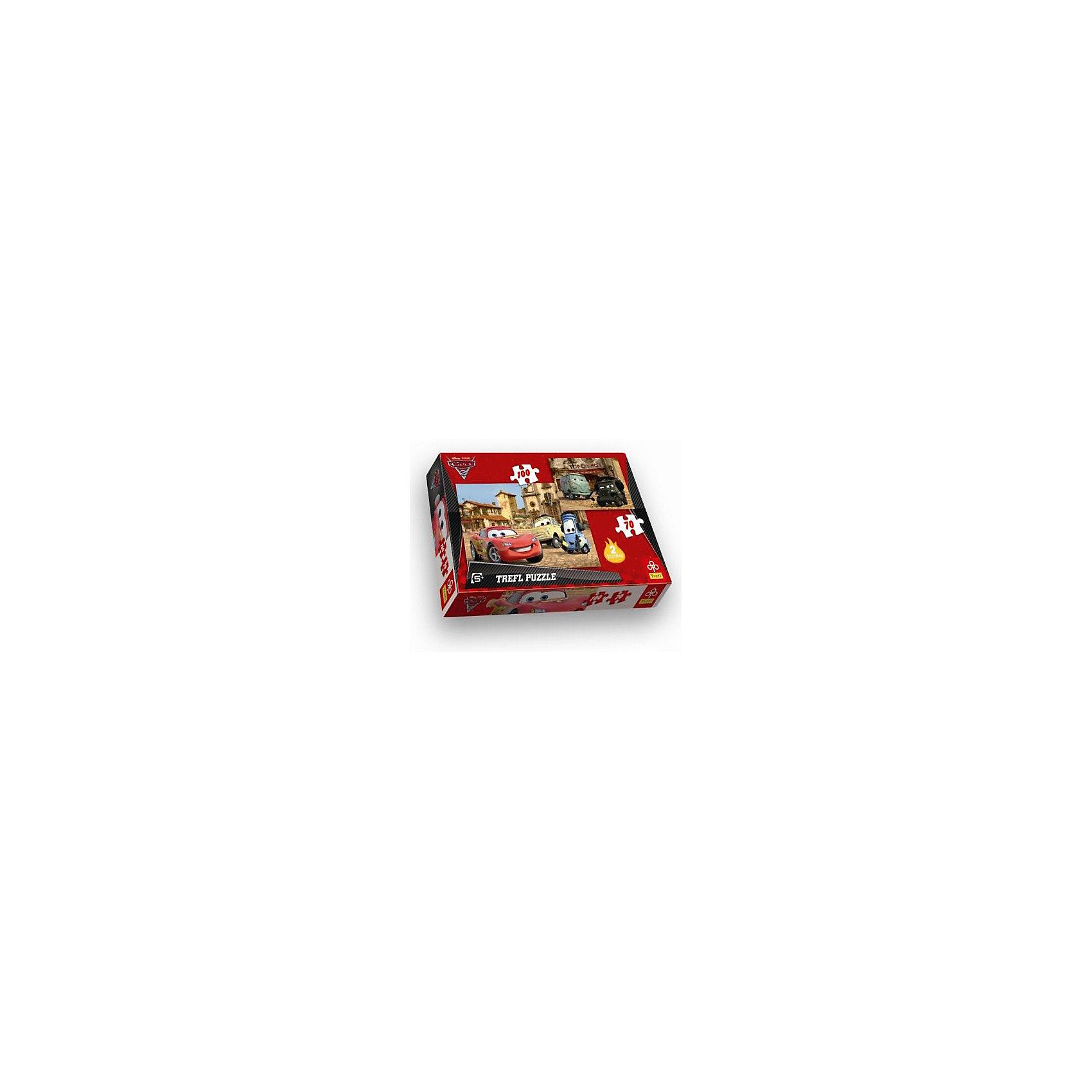 Набор пазлов Тачки 2, 70*100 деталей, Treflпазл 2 в 1 Тачки 2 (Cars 2) от компании Trefl станет отличным подарком для ребенка, ведь в набор входит два пазла. Ребенок сможет собрать две восхитительных картины  с любимыми героями мультфильма Тачки.<br><br>Дополнительная информация:<br><br>Размер упаковки: 28.5х3.5х29 см.<br>Размер пазлов в собранном виде: 33х22 см.( 100 дет.) и 22.7х16.7 см.( 70 дет.)<br>Не рекомендуется детям до 3-х лет.<br><br>Набор пазлов Тачки 2 (Cars 2), 70*100 деталей, Trefl можно купить в нашем магазине.<br><br>Ширина мм: 193<br>Глубина мм: 288<br>Высота мм: 41<br>Вес г: 330<br>Возраст от месяцев: 60<br>Возраст до месяцев: 120<br>Пол: Мужской<br>Возраст: Детский<br>SKU: 4574020