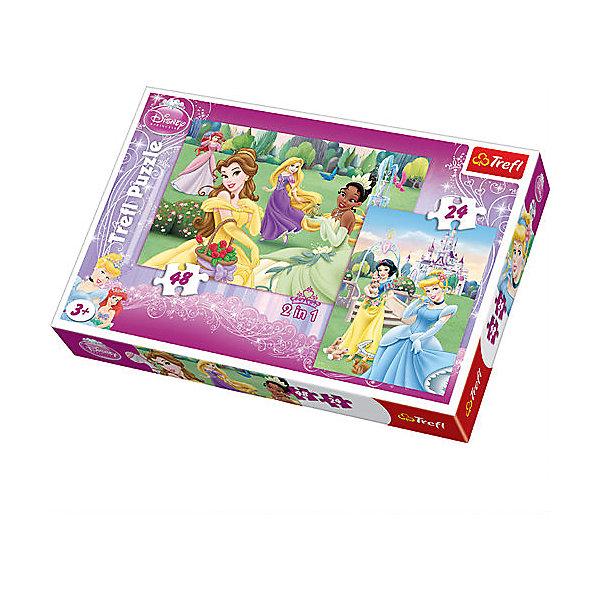 Набор пазлов Прекрасные Принцессы, 24*48 деталей, TreflПазлы для малышей<br>Набор 2 в 1 Прекрасные принцессы - это две мозаики с изображением Золушки, Белоснежки, Тианы, Рапунцель, Белль и Русалочки. Игрушка будет приятным занятием для девочки. Ведь все малышки любят принцесс Дисней! В этом наборе вы найдете два пазла: на 24 и на 48 элементов. <br>Игрушка изготовлена польским брендом Trefl из экологически чистых материалов. Специальная бумага, из которой сделаны пазлы, исключает отражение света. Таким образом, мозаики можно собирать при любом освещении.<br><br>Дополнительная информация:<br><br>Размеры собранных картинок:<br>- 22,7 x 16,7 см. <br>- 33 x 22 см. <br><br>Набор пазлов Прекрасные Принцессы, 24*48 деталей, Trefl можно купить в нашем магазине.<br><br>Ширина мм: 193<br>Глубина мм: 288<br>Высота мм: 41<br>Вес г: 330<br>Возраст от месяцев: 36<br>Возраст до месяцев: 96<br>Пол: Женский<br>Возраст: Детский<br>SKU: 4574021