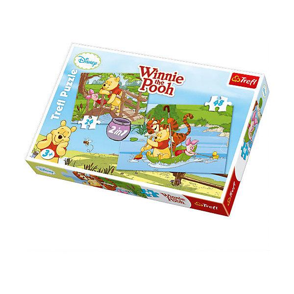 Набор пазлов Играем в воде, 24*48 деталей, TreflПазлы для малышей<br>Набор 2 в 1 Играем в воде – это две прекрасных мозаики с изображением Винни-Пуха и его друзей Пятачка и Тигру, которые будут приятным занятием для ребенка. Ведь все малыши любят мультсериалы Дисней! В этом наборе вы найдете два пазла: на 24 и на 48 элементов. <br>Игрушка изготовлена польским брендом Trefl из экологически чистых материалов. Специальная бумага, из которой сделаны пазлы, исключает отражение света. Таким образом, мозаики можно собирать при любом освещении.<br><br>Дополнительная информация:<br><br>Размеры собранных картинок:<br>- 22,7 x 16,7 см. <br>- 33 x 22 см. <br><br>Набор пазлов Играем в воде, 24*48 деталей, Trefl можно купить в нашем магазине.<br>Ширина мм: 193; Глубина мм: 288; Высота мм: 41; Вес г: 330; Возраст от месяцев: 36; Возраст до месяцев: 96; Пол: Унисекс; Возраст: Детский; SKU: 4574022;