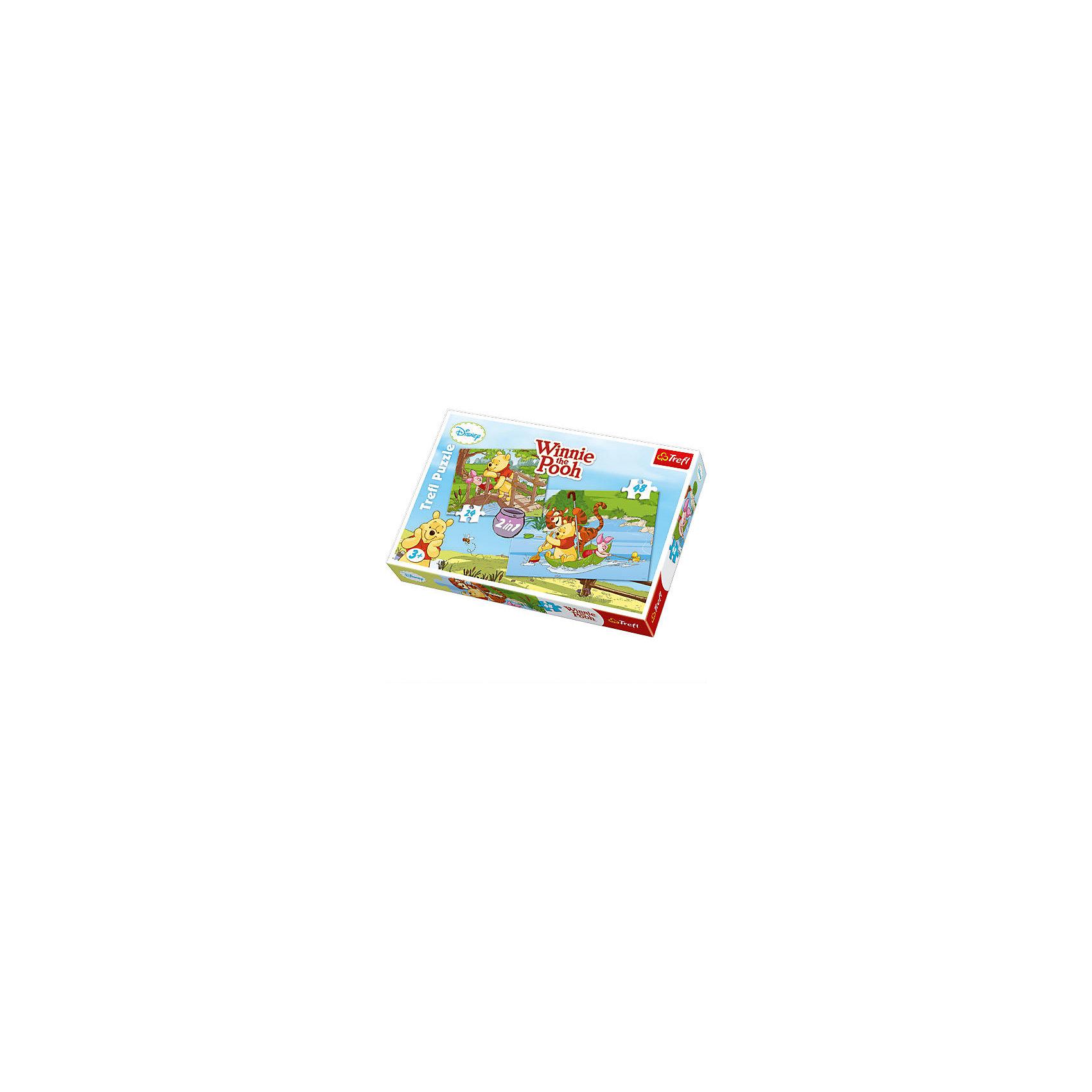 Набор пазлов Играем в воде, 24*48 деталей, TreflПазлы для малышей<br>Набор 2 в 1 Играем в воде – это две прекрасных мозаики с изображением Винни-Пуха и его друзей Пятачка и Тигру, которые будут приятным занятием для ребенка. Ведь все малыши любят мультсериалы Дисней! В этом наборе вы найдете два пазла: на 24 и на 48 элементов. <br>Игрушка изготовлена польским брендом Trefl из экологически чистых материалов. Специальная бумага, из которой сделаны пазлы, исключает отражение света. Таким образом, мозаики можно собирать при любом освещении.<br><br>Дополнительная информация:<br><br>Размеры собранных картинок:<br>- 22,7 x 16,7 см. <br>- 33 x 22 см. <br><br>Набор пазлов Играем в воде, 24*48 деталей, Trefl можно купить в нашем магазине.<br><br>Ширина мм: 193<br>Глубина мм: 288<br>Высота мм: 41<br>Вес г: 330<br>Возраст от месяцев: 36<br>Возраст до месяцев: 96<br>Пол: Унисекс<br>Возраст: Детский<br>SKU: 4574022