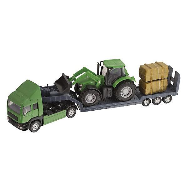 Грузовой автомобиль с трактором,  HTl GrоuрМашинки<br>Фермерский грузовой автомобиль от британского бренда HTI – это не просто очередная машинка в игрушечном гараже мальчишки. Это масштабная модель настоящего автомобиля. Высокая степень детализации, реалистичные цвета сделают ролевую игру наиболее увлекательной и познавательной для малыша от 3 лет. Кроме того, такой игровой набор сможет занять достойное место на полке коллекционера моделей.<br>Набор состоит из грузовика для перевозки техники, трактора, который предстоит перевозить и дополнительных материалов для транспортировки. <br><br>Дополнительная информация:<br><br>Комплект: грузовоз, трактор, 2 тюка сена.<br>Материал: пластик.<br>Размер: 7.3 x 10.8 x 34 см.<br><br>Грузовой автомобиль с трактором,  HTl Grоuр можно купить в нашем магазине.<br>Ширина мм: 34; Глубина мм: 7; Высота мм: 11; Вес г: 260; Возраст от месяцев: 36; Возраст до месяцев: 96; Пол: Мужской; Возраст: Детский; SKU: 4574040;