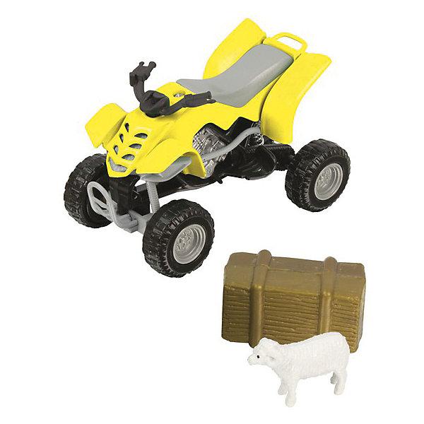 Квадроцикл, HTl GrоuрМашинки<br>Каких только моделей машинок не встретишь сейчас на прилавках. Важно, чтобы они не только понравились ребенку и завладели его вниманием и сердцем, но и не принесли вреда. Абсолютно безопасны для детей модели автомобилей от британской компании HTI. Они отвечают высочайшим европейским стандартам. При создании игрушек используется прочный пластик с металлическими элементами. Высокая степень детализации делает машинки полностью схожими с оригиналами, поэтому такие автомобили могут стать частью коллекции и взрослого мужчины, и любимой игрушкой у малыша с 3 лет.<br>Набор «Фермерский квадроцикл» включает в себя не только средство передвижения, но и соответствующий антураж фигурки животных и предметы быта.<br><br>Дополнительная информация:<br><br>Масштаб: 1:24.<br>Комплект: квадроцикл, фигурка животного, предмет быта.<br>Материал: металл, пластик.<br>Размер упаковки: 7.3 х 5.8 х 18 см.<br><br>Квадроцикл, HTl Grоuр можно купить в нашем магазине.<br><br>Ширина мм: 18<br>Глубина мм: 6<br>Высота мм: 7<br>Вес г: 60<br>Возраст от месяцев: 36<br>Возраст до месяцев: 96<br>Пол: Мужской<br>Возраст: Детский<br>SKU: 4574052