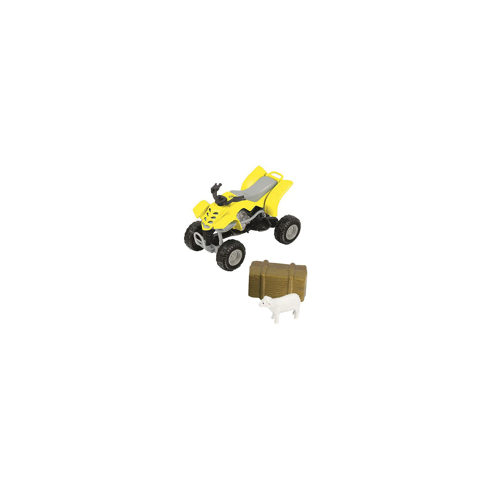 Квадроцикл, HTl GrоuрКаких только моделей машинок не встретишь сейчас на прилавках. Важно, чтобы они не только понравились ребенку и завладели его вниманием и сердцем, но и не принесли вреда. Абсолютно безопасны для детей модели автомобилей от британской компании HTI. Они отвечают высочайшим европейским стандартам. При создании игрушек используется прочный пластик с металлическими элементами. Высокая степень детализации делает машинки полностью схожими с оригиналами, поэтому такие автомобили могут стать частью коллекции и взрослого мужчины, и любимой игрушкой у малыша с 3 лет.<br>Набор «Фермерский квадроцикл» включает в себя не только средство передвижения, но и соответствующий антураж фигурки животных и предметы быта.<br><br>Дополнительная информация:<br><br>Масштаб: 1:24.<br>Комплект: квадроцикл, фигурка животного, предмет быта.<br>Материал: металл, пластик.<br>Размер упаковки: 7.3 х 5.8 х 18 см.<br><br>Квадроцикл, HTl Grоuр можно купить в нашем магазине.<br><br>Ширина мм: 18<br>Глубина мм: 6<br>Высота мм: 7<br>Вес г: 60<br>Возраст от месяцев: 36<br>Возраст до месяцев: 96<br>Пол: Мужской<br>Возраст: Детский<br>SKU: 4574052