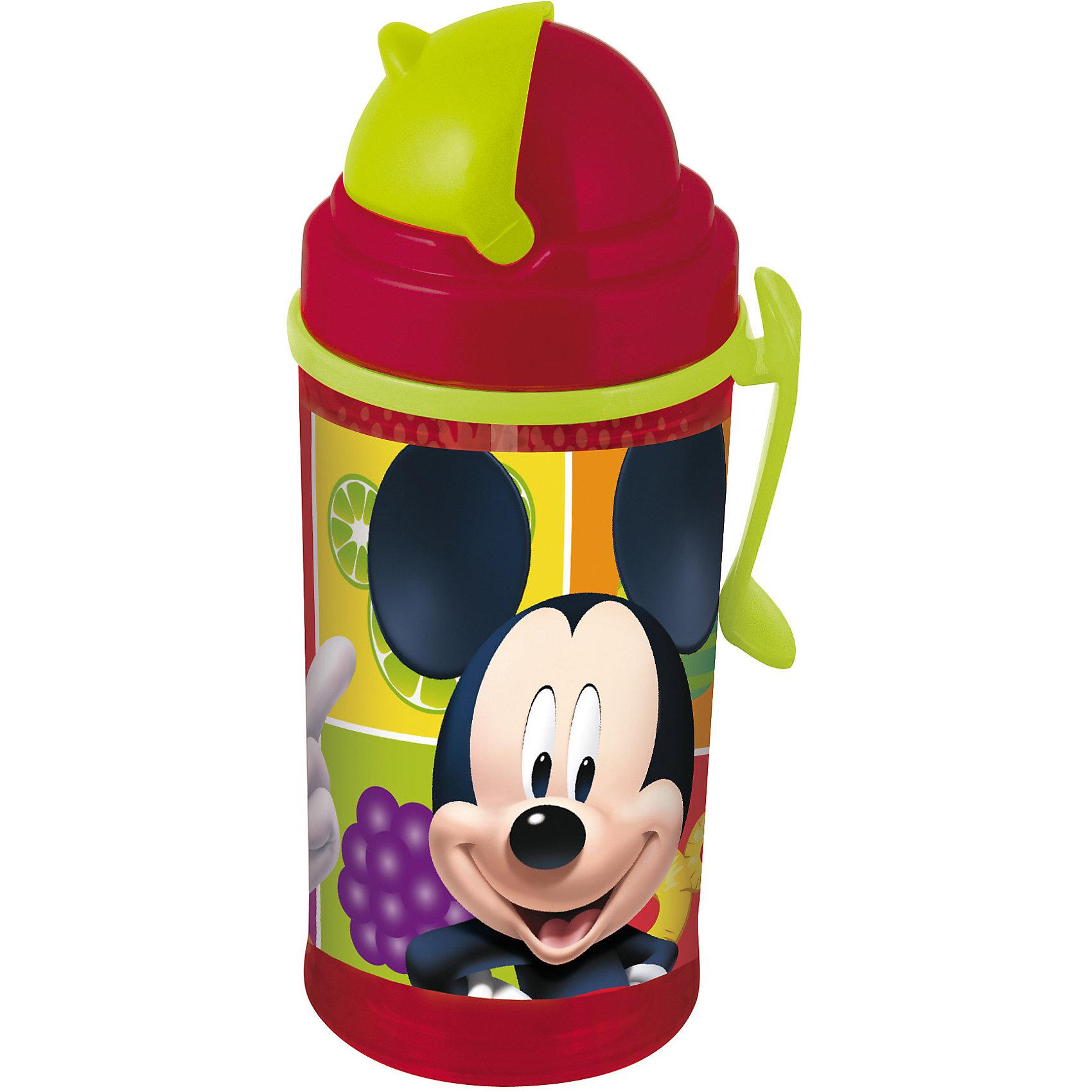 Фляга с соломинкой и держателем Микки Маус 350 млФляга с соломинкой и держателем Микки Маус (Mickey Mouse) 350 мл – идеальный спутник малыша поездках и путешествиях, ее можно взять в школу, на прогулку.<br>Яркая детская фляга с соломинкой и держателем украшена изображением героев мультсериала «Микки Маус и его друзья». Она изготовлена из высококачественного, пищевого пластика. Ребенок без труда сможет открывать и закрывать крышку, которая обеспечивает чистоту трубочки и предотвращает проливание напитков. Фляга имеет удобный держатель, который хорошо фиксируется на поясе.<br><br>Дополнительная информация:<br><br>- Материал: пластик<br>- Объем: 350 мл.<br>- Размер упаковки: 75х80х175 мм.<br>- Вес: 165 гр.<br><br>Флягу с соломинкой и держателем Микки Маус (Mickey Mouse) 350 мл можно купить в нашем интернет-магазине.<br><br>Ширина мм: 75<br>Глубина мм: 80<br>Высота мм: 175<br>Вес г: 165<br>Возраст от месяцев: 36<br>Возраст до месяцев: 84<br>Пол: Унисекс<br>Возраст: Детский<br>SKU: 4574314