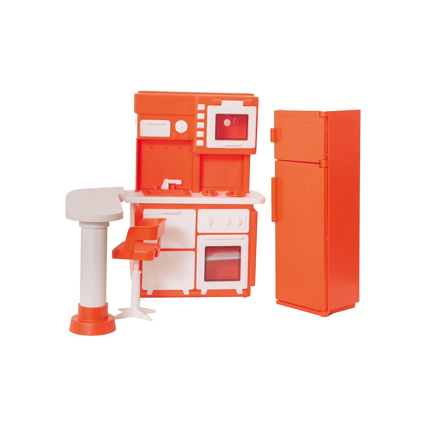 Кухня  Конфетти, ОгонекЯркий набор кухонной мебели понравится и девчонкам, и их куклам! Набор состоит из стильного шкафа с необходимой техникой, раковины, барной стойки и холодильника. Юная хозяйка порадуется маленькой посудке и миниатюрным игрушкам-продуктам, делающим игру еще интереснее и реалистичнее. Все детали набора имеют прочные надежные крепления, выполнены из высококачественного экологичного пластика, в производстве которого использованы только нетоксичные красители безопасные для детей. <br><br>Дополнительная информация:<br><br>- Материал: пластик.<br>- Размер упаковки: 31х31х9 см.<br>- Комплектация: плита с раковиной в сборе - 1 шт., холодильник - 1 шт.,  стол - 1 шт., подставка стола в сборе - 1 шт., стойка стула в сборе - 1 шт., сиденье стула - 1 шт.,<br>полукорпус миксера левый - 1 шт., полукорпус миксера правый - 1 шт., чашка для миксера - 1 шт.,  насадка для миксера - 1 шт., подставка для яиц - 1 шт., сковородка - 1 шт., корпус чайника - 1 шт., дно чайника - 1 шт.,  ручка чайника - 1 шт.,  судок - 1 шт., кастрюля - 1 шт., чашка - 2 шт., блюдце - 2 шт, крышка - 2 шт., пакет - 2 шт., бутылка - 2 шт., пробка бутылки - 2 шт.<br><br>Набор Кухня. Конфетти, Огонек можно купить в нашем магазине.<br><br>Ширина мм: 310<br>Глубина мм: 90<br>Высота мм: 310<br>Вес г: 400<br>Возраст от месяцев: 36<br>Возраст до месяцев: 144<br>Пол: Женский<br>Возраст: Детский<br>SKU: 4575891