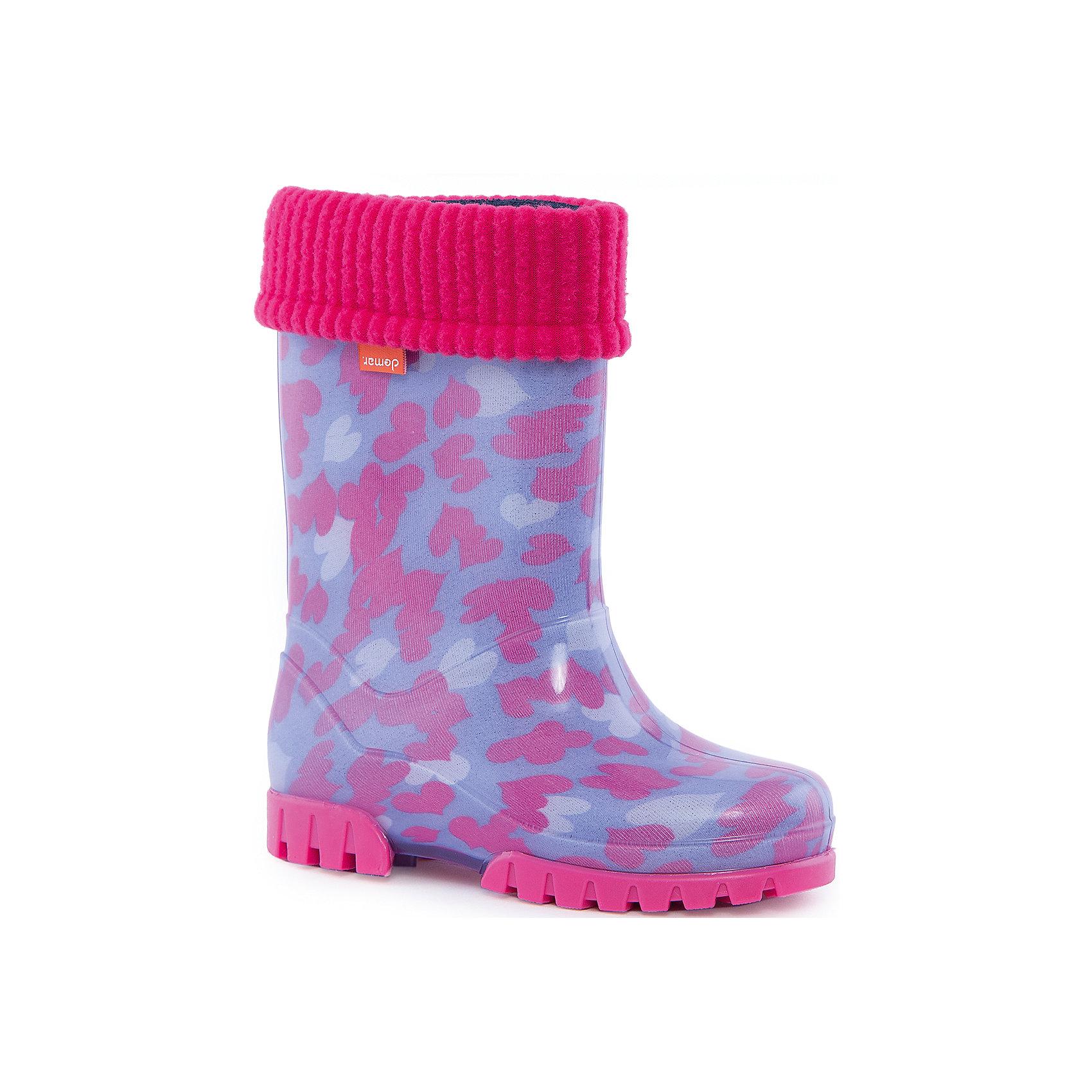 Резиновые сапоги Stormic Lux Print для девочки DEMARРезиновые сапоги<br>Характеристики товара:<br><br>• цвет: розовый/фиолетовый<br>• материал верха: ПВХ<br>• материал подкладки: текстиль <br>• материал подошвы: ПВХ<br>• температурный режим: от 0° до +15° С<br>• верх не продувается<br>• съемный чулок<br>• стильный дизайн<br>• страна бренда: Польша<br>• страна изготовитель: Польша<br><br>Осенью и весной ребенку не обойтись без непромокаемых сапожек! Чтобы не пропустить главные удовольствия межсезонья, нужно запастись удобной обувью. Такие сапожки обеспечат ребенку необходимый для активного отдыха комфорт, а подкладка из текстиля позволит ножкам оставаться теплыми. Сапожки легко надеваются и снимаются, отлично сидят на ноге. Они удивительно легкие!<br>Обувь от польского бренда Demar - это качественные товары, созданные с применением новейших технологий и с использованием как натуральных, так и высокотехнологичных материалов. Обувь отличается стильным дизайном и продуманной конструкцией. Изделие производится из качественных и проверенных материалов, которые безопасны для детей.<br><br>Сапожки от бренда Demar (Демар) можно купить в нашем интернет-магазине.<br><br>Ширина мм: 257<br>Глубина мм: 180<br>Высота мм: 130<br>Вес г: 420<br>Цвет: белый<br>Возраст от месяцев: 84<br>Возраст до месяцев: 96<br>Пол: Женский<br>Возраст: Детский<br>Размер: 30/31,32/33,28/29,34/35<br>SKU: 4576076