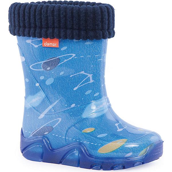 Резиновые сапоги Stormer Lux Print Космос DEMARРезиновые сапоги<br>Характеристики товара:<br><br>• цвет: голубой<br>• материал верха: ПВХ<br>• материал подкладки: текстиль <br>• материал подошвы: ПВХ<br>• температурный режим: от 0° до +15° С<br>• верх не продувается<br>• съемный чулок<br>• стильный дизайн<br>• страна бренда: Польша<br>• страна изготовитель: Польша<br><br>Осенью и весной ребенку не обойтись без непромокаемых сапожек! Чтобы не пропустить главные удовольствия межсезонья, нужно запастись удобной обувью. Такие сапожки обеспечат ребенку необходимый для активного отдыха комфорт, а подкладка из текстиля позволит ножкам оставаться теплыми. Сапожки легко надеваются и снимаются, отлично сидят на ноге. Они удивительно легкие!<br>Обувь от польского бренда Demar - это качественные товары, созданные с применением новейших технологий и с использованием как натуральных, так и высокотехнологичных материалов. Обувь отличается стильным дизайном и продуманной конструкцией. Изделие производится из качественных и проверенных материалов, которые безопасны для детей.<br><br>Сапожки от бренда Demar (Демар) можно купить в нашем интернет-магазине.<br>Ширина мм: 237; Глубина мм: 180; Высота мм: 152; Вес г: 438; Цвет: белый; Возраст от месяцев: 96; Возраст до месяцев: 108; Пол: Мужской; Возраст: Детский; Размер: 32/33,28/29,34/35,26/27,22/23,24/25,30/31; SKU: 4576087;