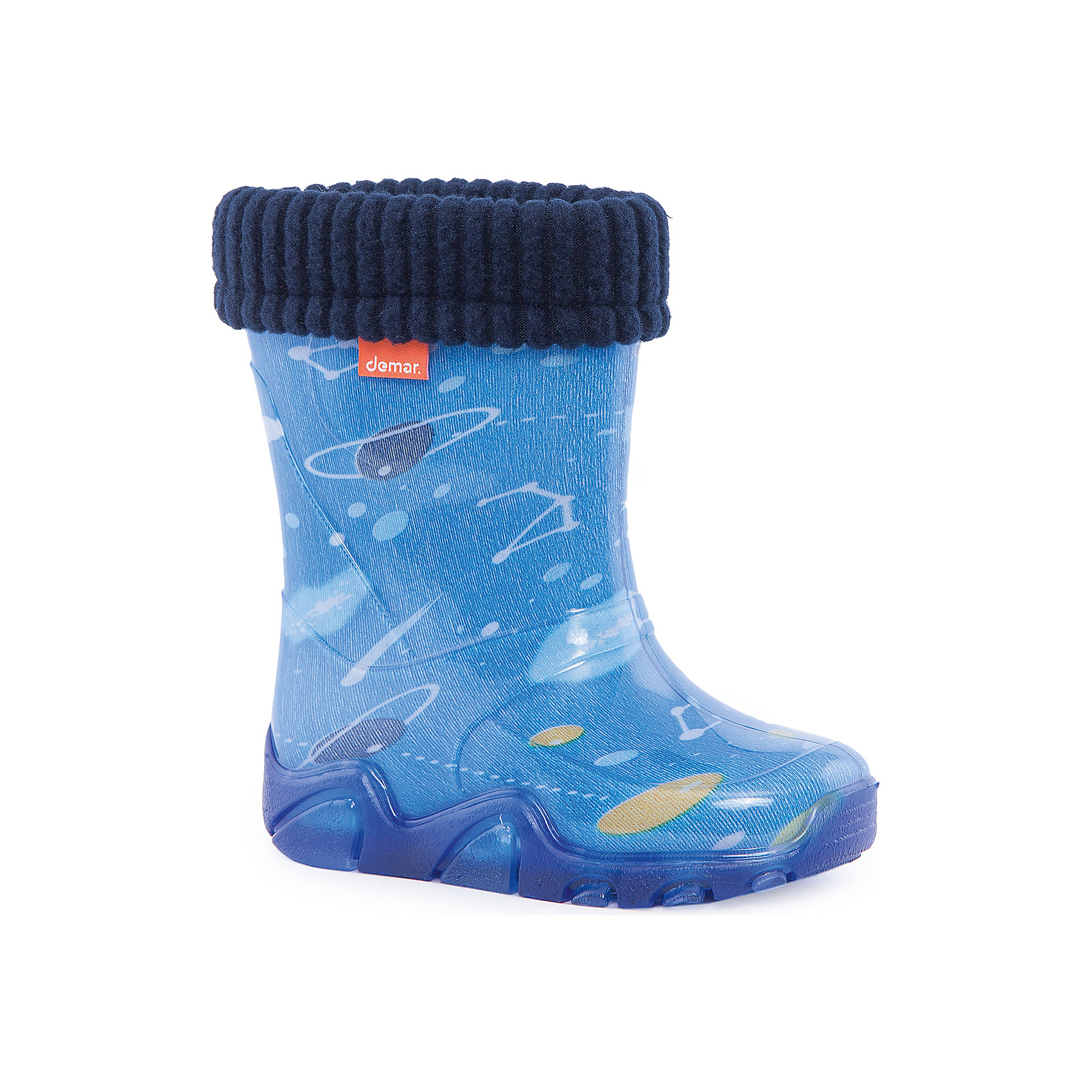 Резиновые сапоги Stormer Lux Print Космос DEMARРезиновые сапоги<br>Характеристики товара:<br><br>• цвет: голубой<br>• материал верха: ПВХ<br>• материал подкладки: текстиль <br>• материал подошвы: ПВХ<br>• температурный режим: от 0° до +15° С<br>• верх не продувается<br>• съемный чулок<br>• стильный дизайн<br>• страна бренда: Польша<br>• страна изготовитель: Польша<br><br>Осенью и весной ребенку не обойтись без непромокаемых сапожек! Чтобы не пропустить главные удовольствия межсезонья, нужно запастись удобной обувью. Такие сапожки обеспечат ребенку необходимый для активного отдыха комфорт, а подкладка из текстиля позволит ножкам оставаться теплыми. Сапожки легко надеваются и снимаются, отлично сидят на ноге. Они удивительно легкие!<br>Обувь от польского бренда Demar - это качественные товары, созданные с применением новейших технологий и с использованием как натуральных, так и высокотехнологичных материалов. Обувь отличается стильным дизайном и продуманной конструкцией. Изделие производится из качественных и проверенных материалов, которые безопасны для детей.<br><br>Сапожки от бренда Demar (Демар) можно купить в нашем интернет-магазине.<br><br>Ширина мм: 237<br>Глубина мм: 180<br>Высота мм: 152<br>Вес г: 438<br>Цвет: белый<br>Возраст от месяцев: 24<br>Возраст до месяцев: 36<br>Пол: Мужской<br>Возраст: Детский<br>Размер: 26/27,24/25,22/23<br>SKU: 4576087
