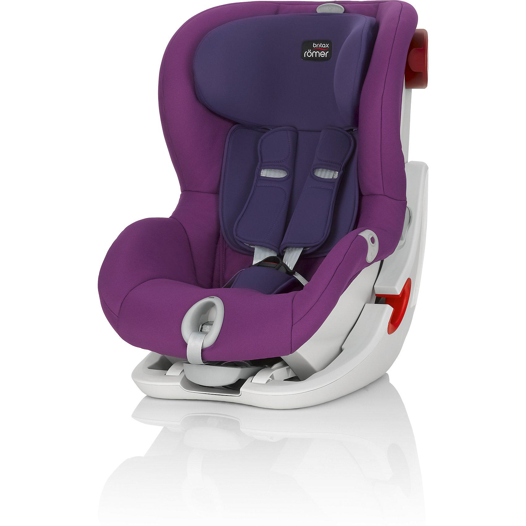 Автокресло Britax Romer KING II LS, 9-18 кг, Mineral Purple TrendlineГруппа 1 (От 9 до 18 кг)<br>Автокресло King II LS оснащено уникальной системой световой индикации натяжения ремня безопасности и складывающимся вперед сиденьем для удобства установки. <br>- Установка в автомобиле с помощью штатного ремня безопасности<br>- Индикатор определяет уровень натяжения внутреннего ремня автокресла<br>- 5-точечные ремни безопасности, регулируемые одной рукой<br>- Угол наклона регулируется в 4-х положениях<br>- Система наклона кресла вперед обеспечивает улучшенный доступ и обзор при установке кресла в салоне автомобиля<br>- Глубокие мягкие боковины обеспечивают оптимальную защиту при боковых столкновениях<br>- Мягкие плечевые накладки на ремни для максимального комфорта<br>- Съемный моющийся чехол<br>- Батарейки включены в комплект поставки<br>- Размеры (Д / Ш / В): 54 х 45 х 67 см<br>- Размеры спинки сиденья (Д / Ш): 30 х 34 см<br>- Длина спинки: 55 см<br>- Вес: 10.3 кг<br><br>Автокресло KING II LS, 9-18 кг., BRITAX ROMER (Бритакс Ремер), Mineral Purple Trendline можно купить в нашем магазине.<br><br>Ширина мм: 540<br>Глубина мм: 450<br>Высота мм: 680<br>Вес г: 10500<br>Цвет: сиреневый<br>Возраст от месяцев: 9<br>Возраст до месяцев: 48<br>Пол: Унисекс<br>Возраст: Детский<br>SKU: 4576177